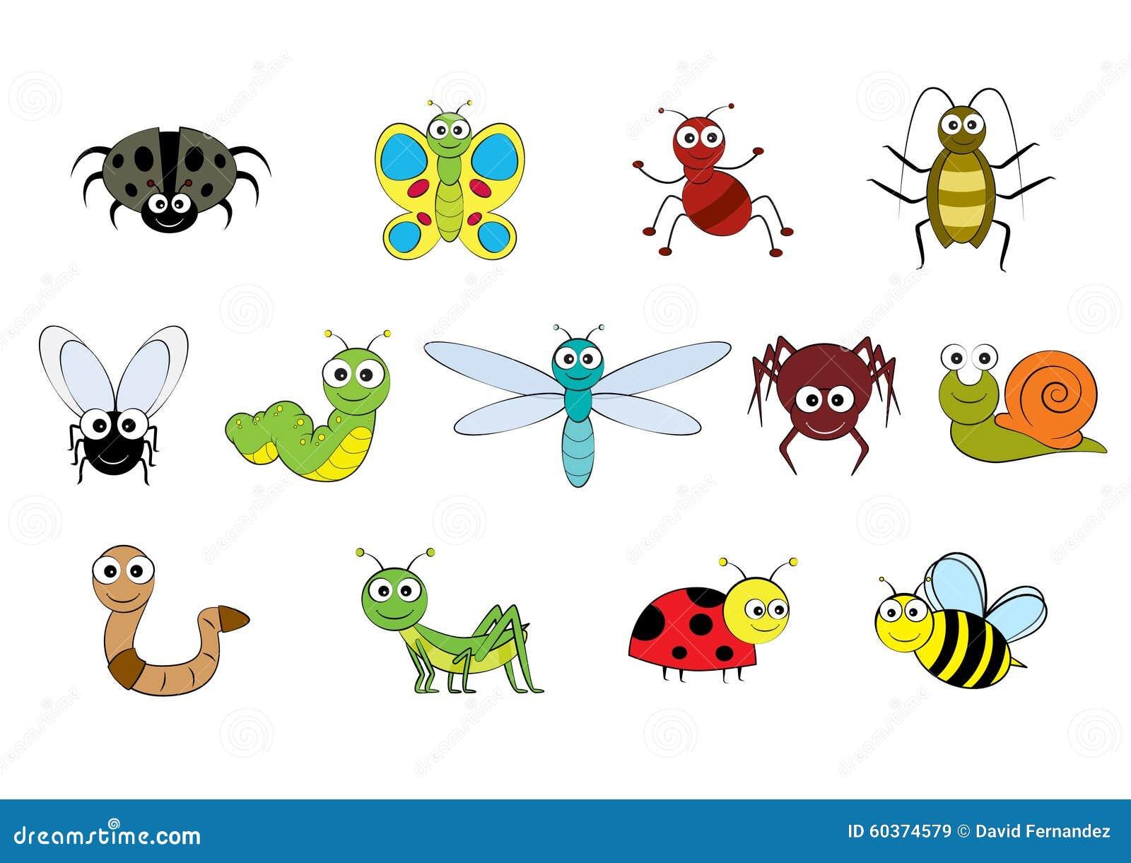 Vector Cartoon Style Mini Beasts Illustration Stock Vector Image 60374579