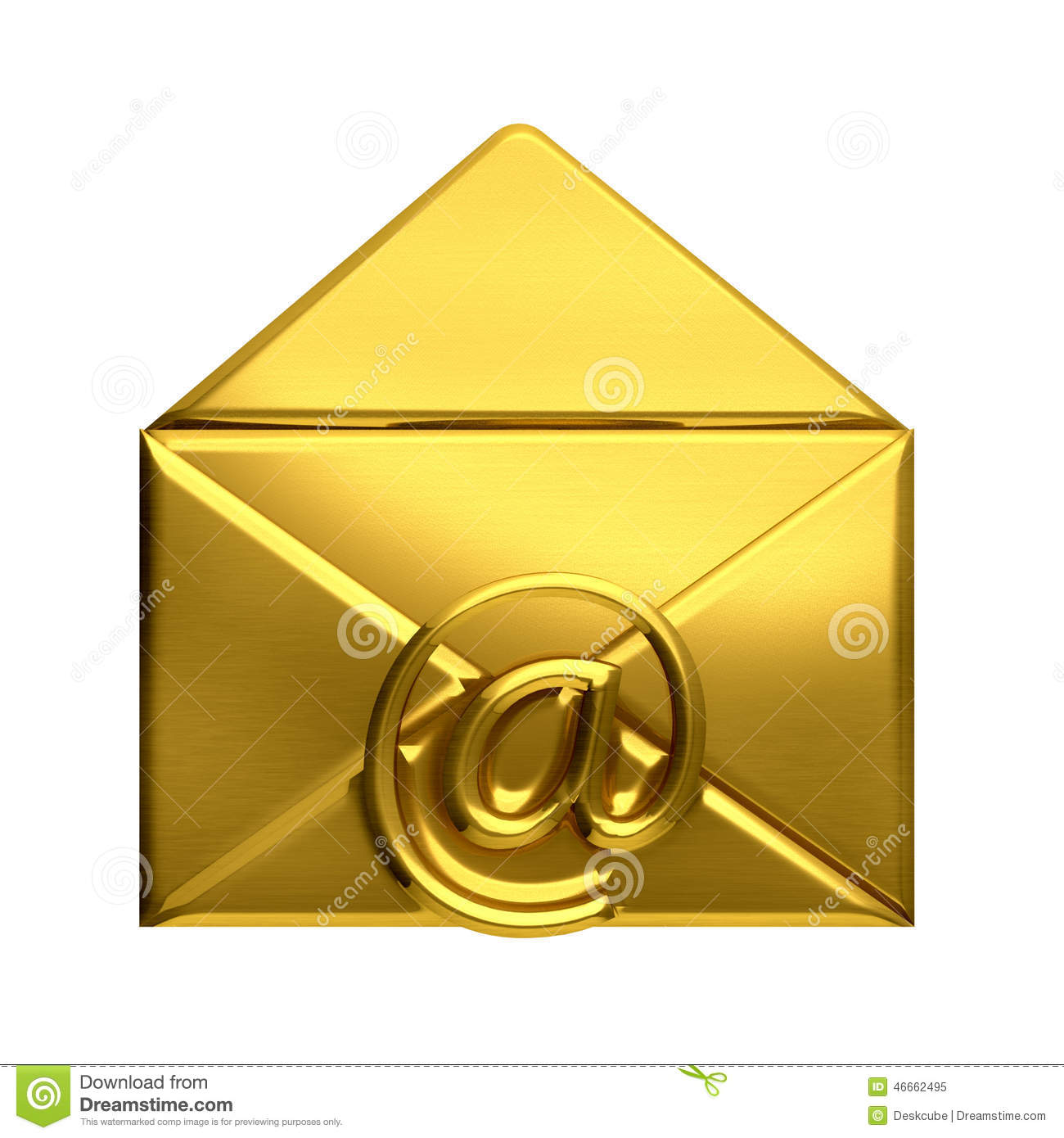 open golden envelope email logo stock illustration