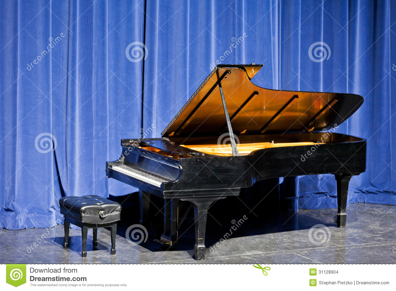 Open Grand Piano On Stage With Blue Velvet Cutain Stock