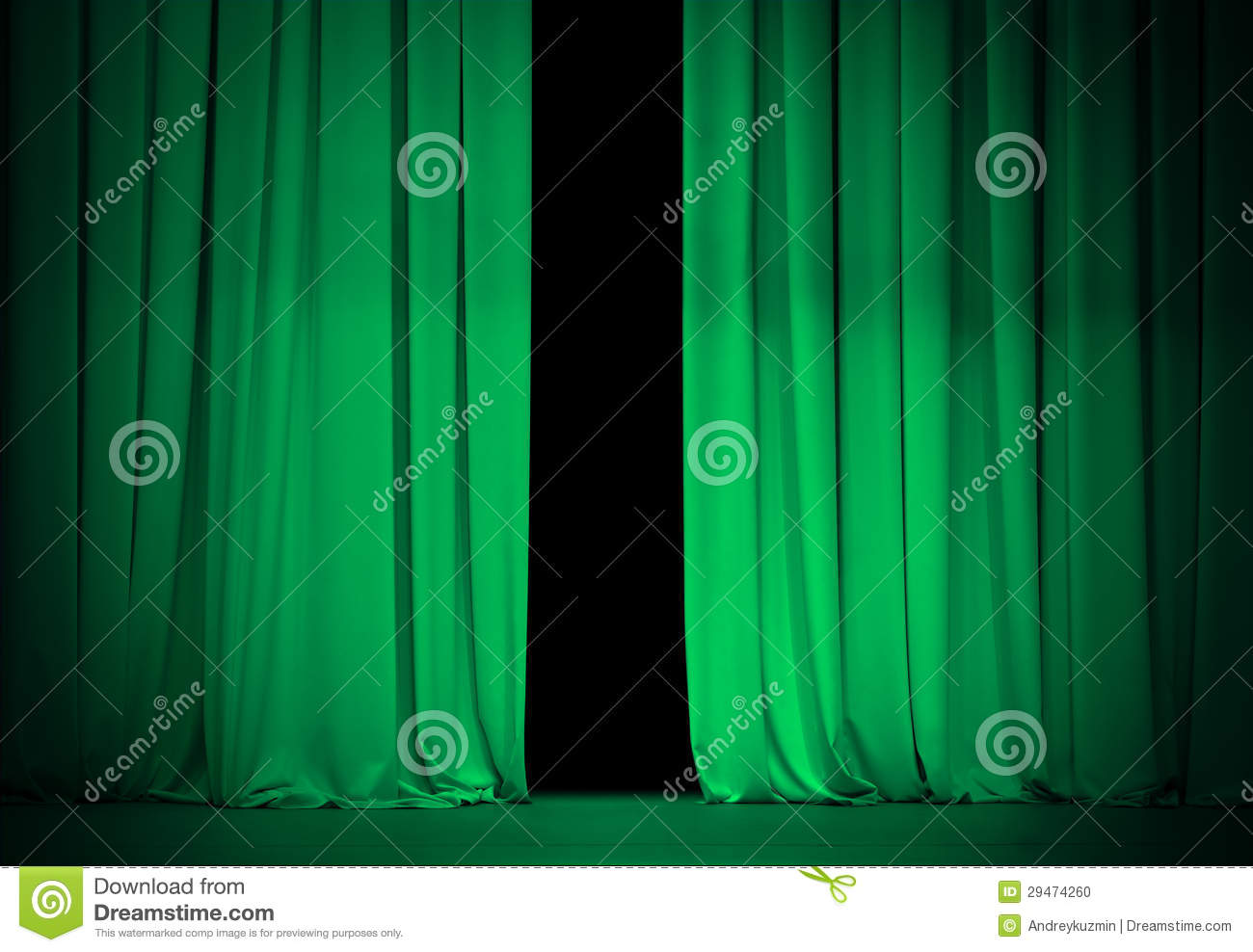 Open Green Or Emerald Curtains On Theater Stage Stock