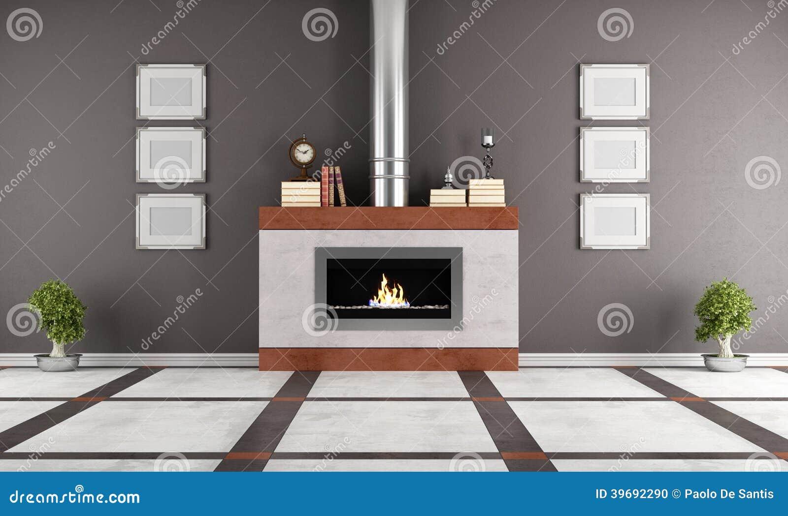 Open haard in een elegante zitkamer stock illustratie illustratie