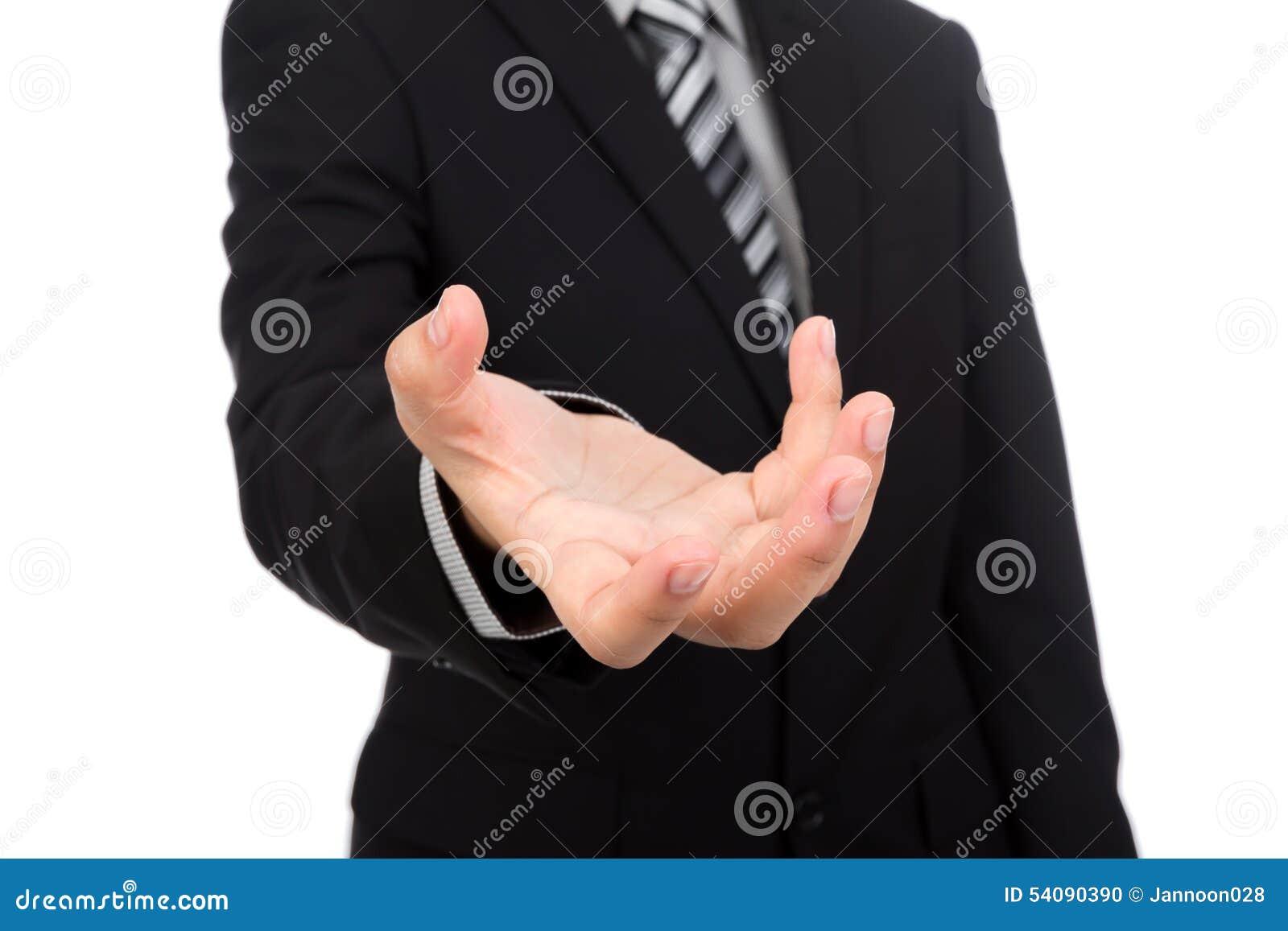 Open hand van de bedrijfsmens