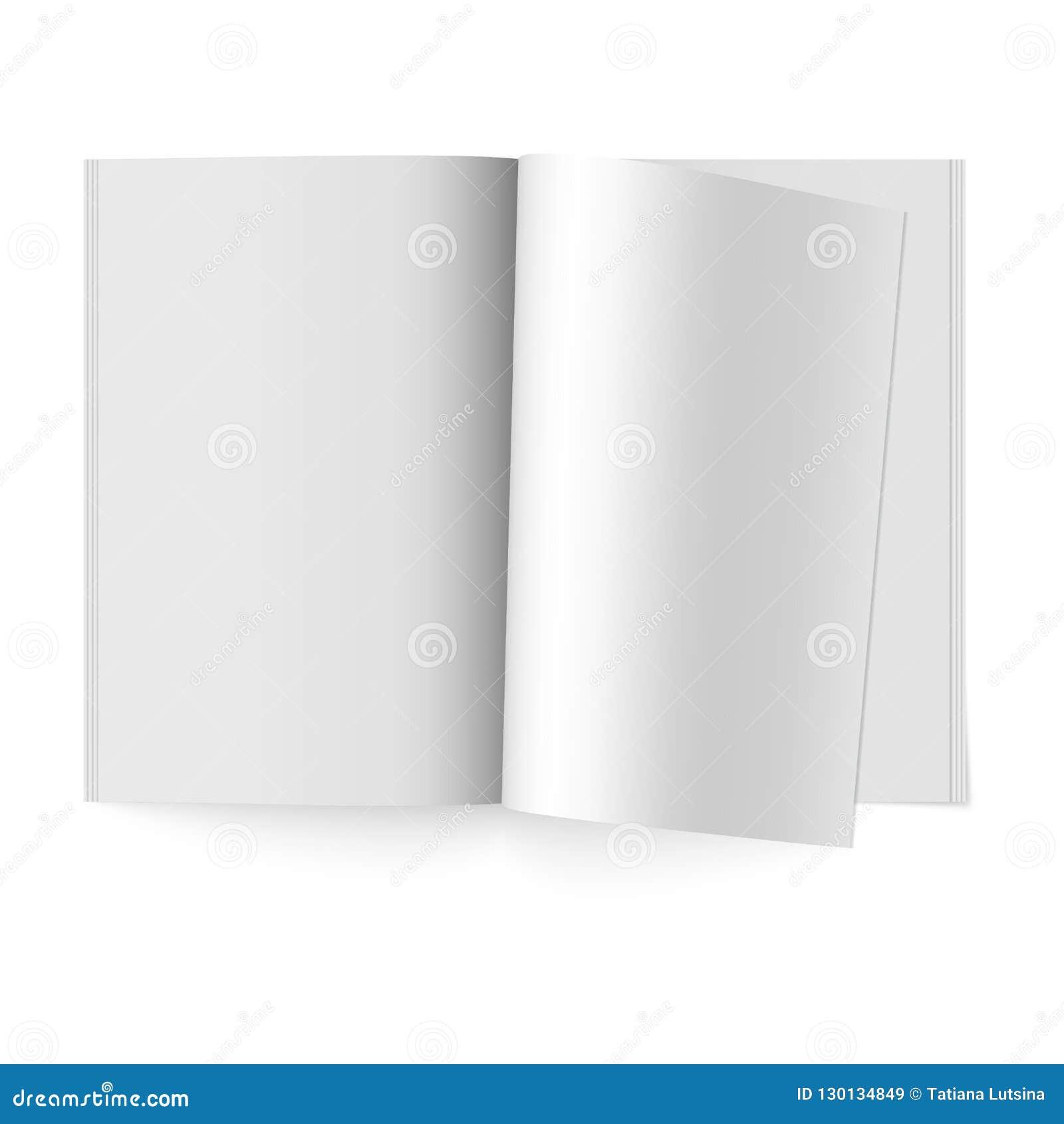 Open het document dagboek Vectorspot omhoog van geïsoleerd boekje Geopend verticaal tijdschrift, brochure of notitieboekjemalplaa