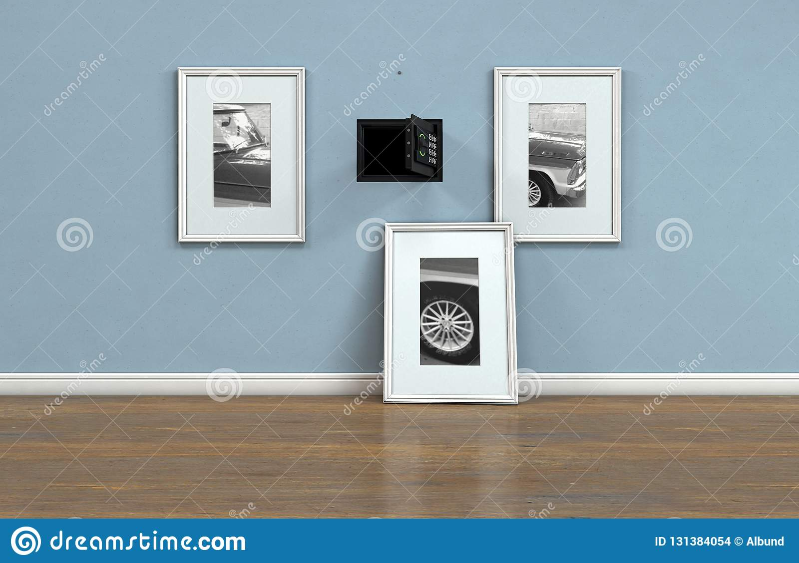 Open Hidden Wall Safe Behind Picture Editorial Stock Image