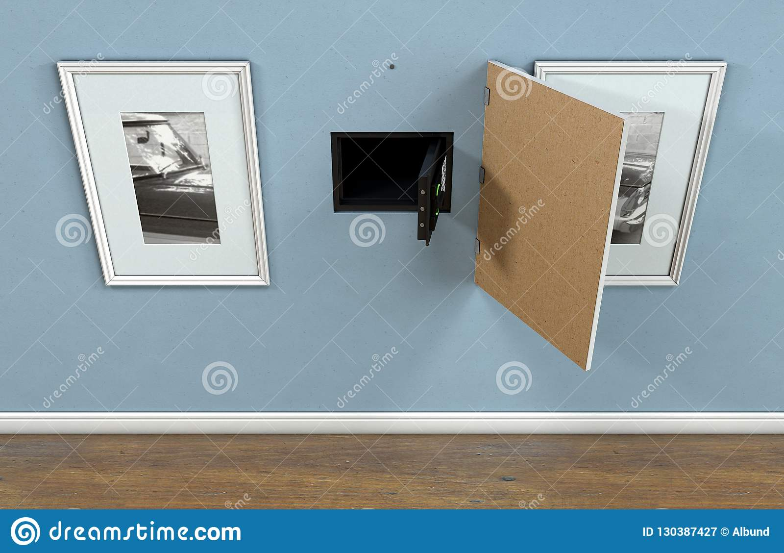 Open Hidden Wall Safe Behind Picture Editorial Photography