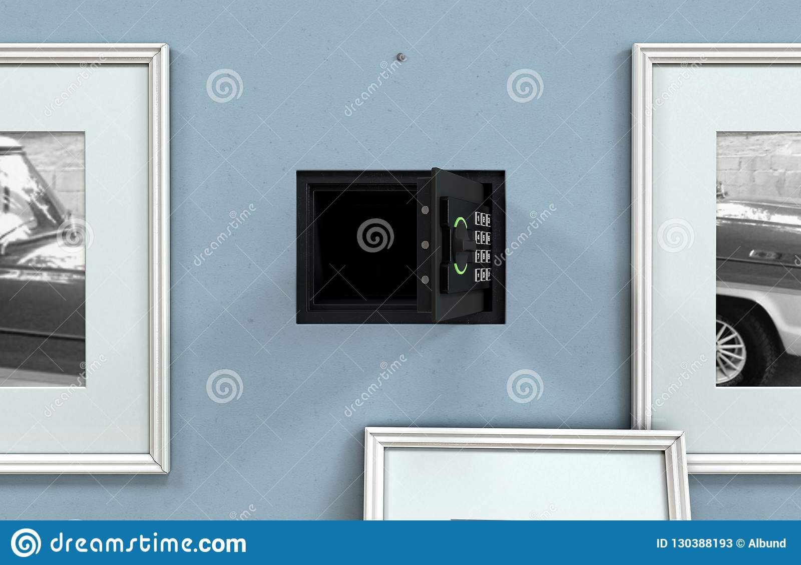 Open Hidden Wall Safe Behind Picture Editorial Stock Photo