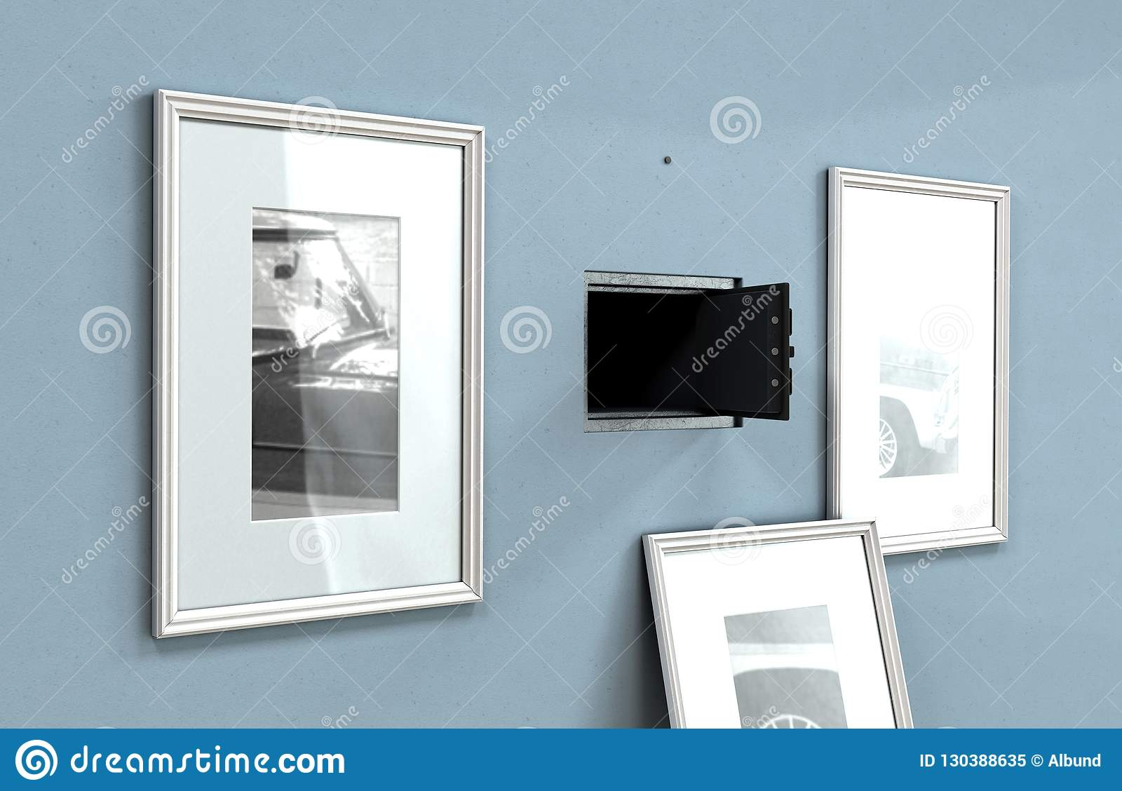 Open Hidden Wall Safe Behind Picture Editorial Image Illustration