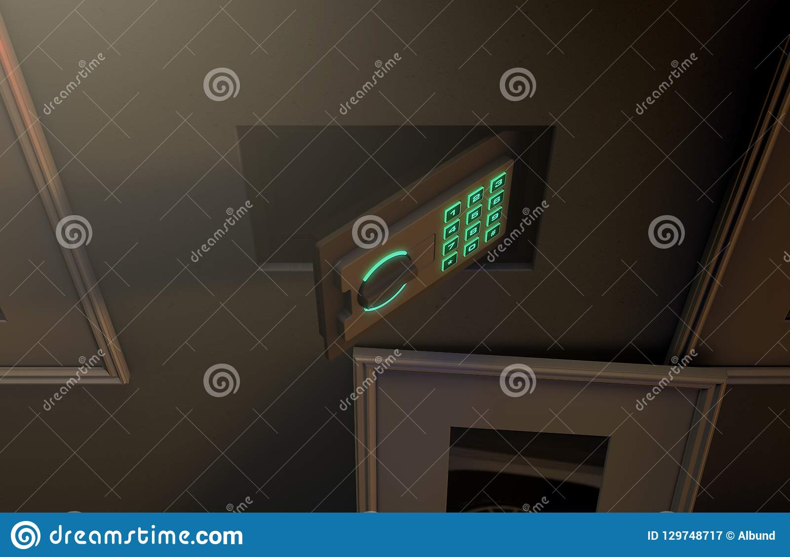 Open Hidden Wall Safe Behind Picture Stock Illustration