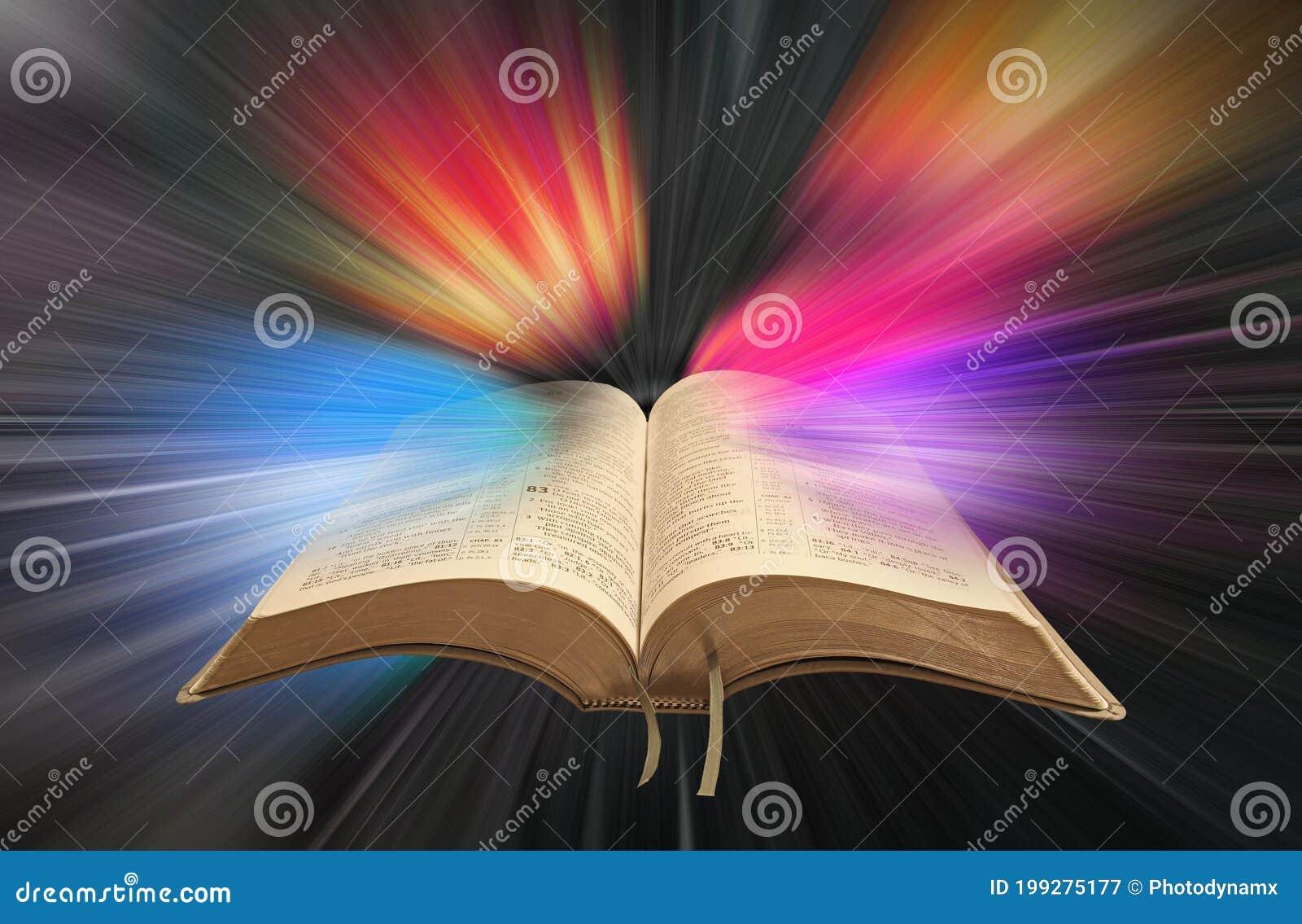Open Holy Bible Scripture Background Spiritual Spirit Christian Christianity Worship Church Light Rays Psalms Prayer Praying Stock Image Image Of Christianity Holy 199275177