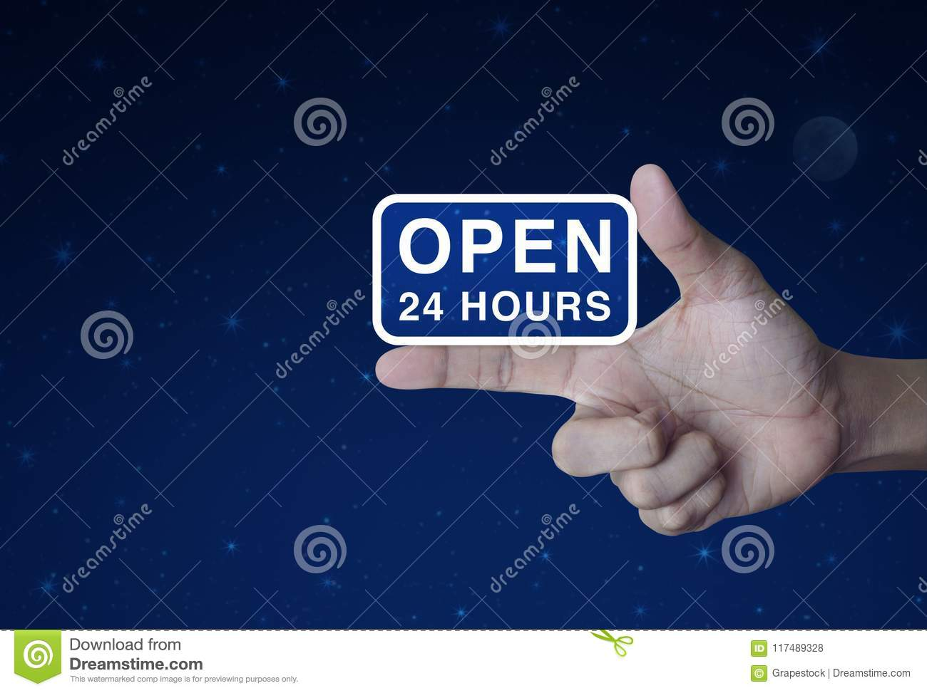 Open 24 hours icon on finger