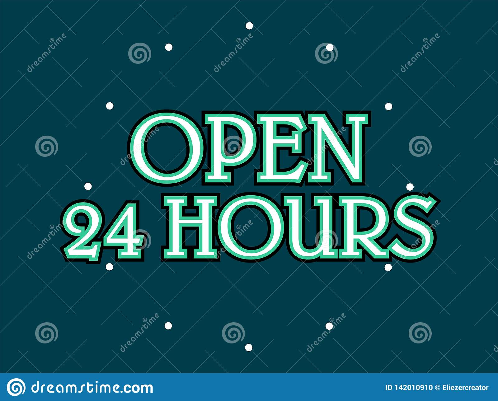 Open 24 hours stock vector