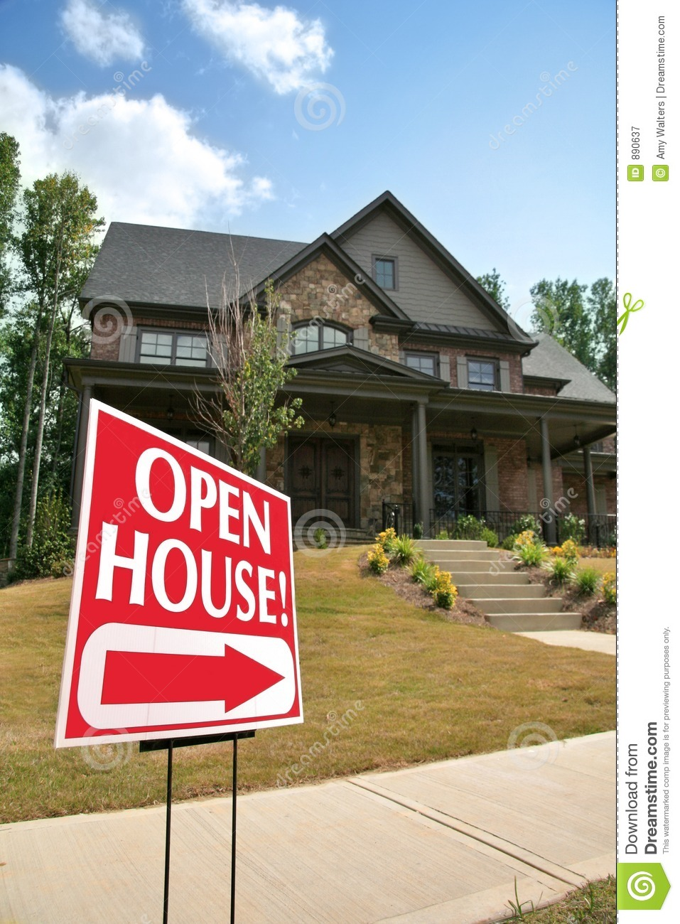open house sign in front of a home royalty free stock