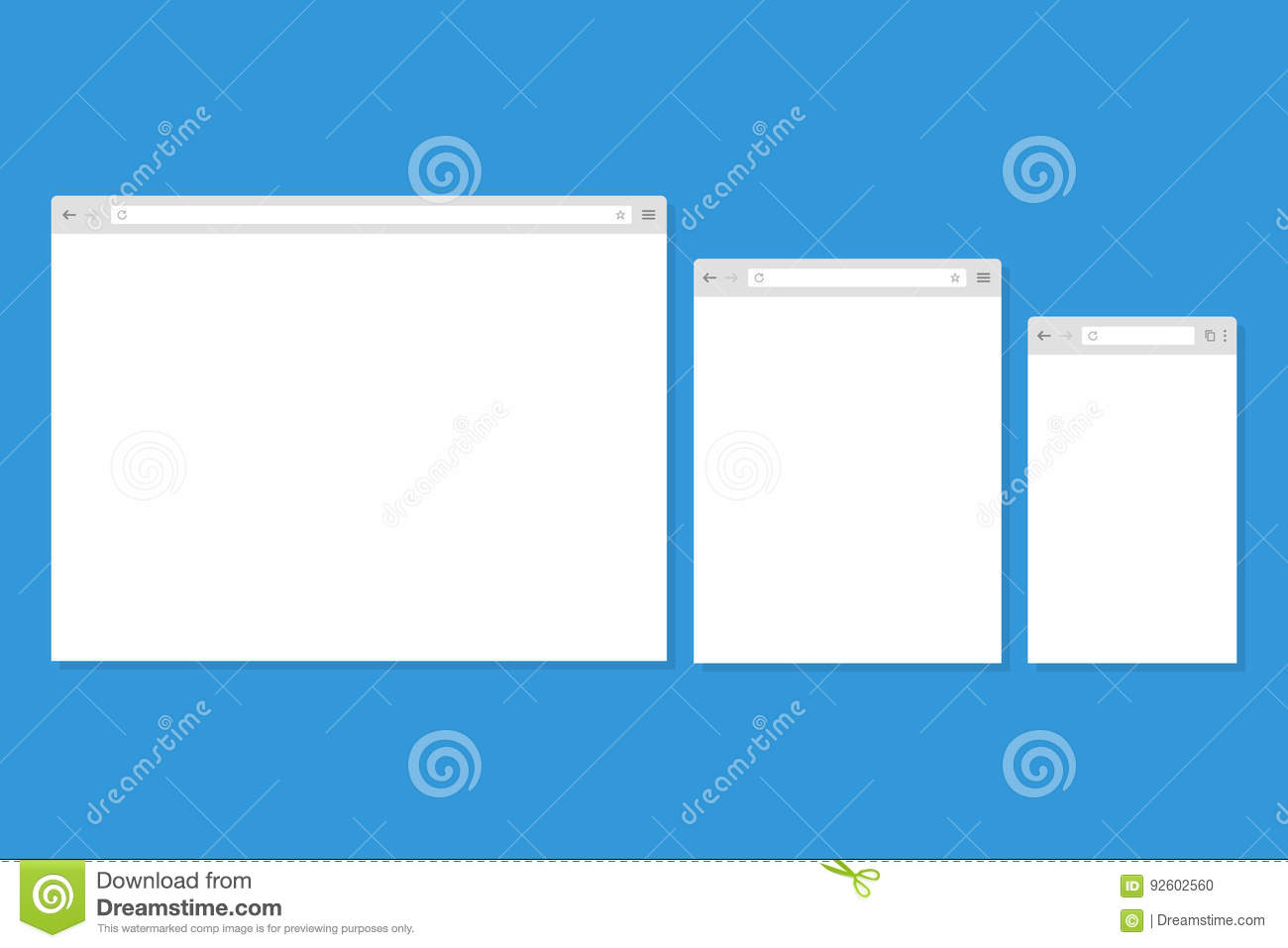 open internet browser window in a flat style stock vector