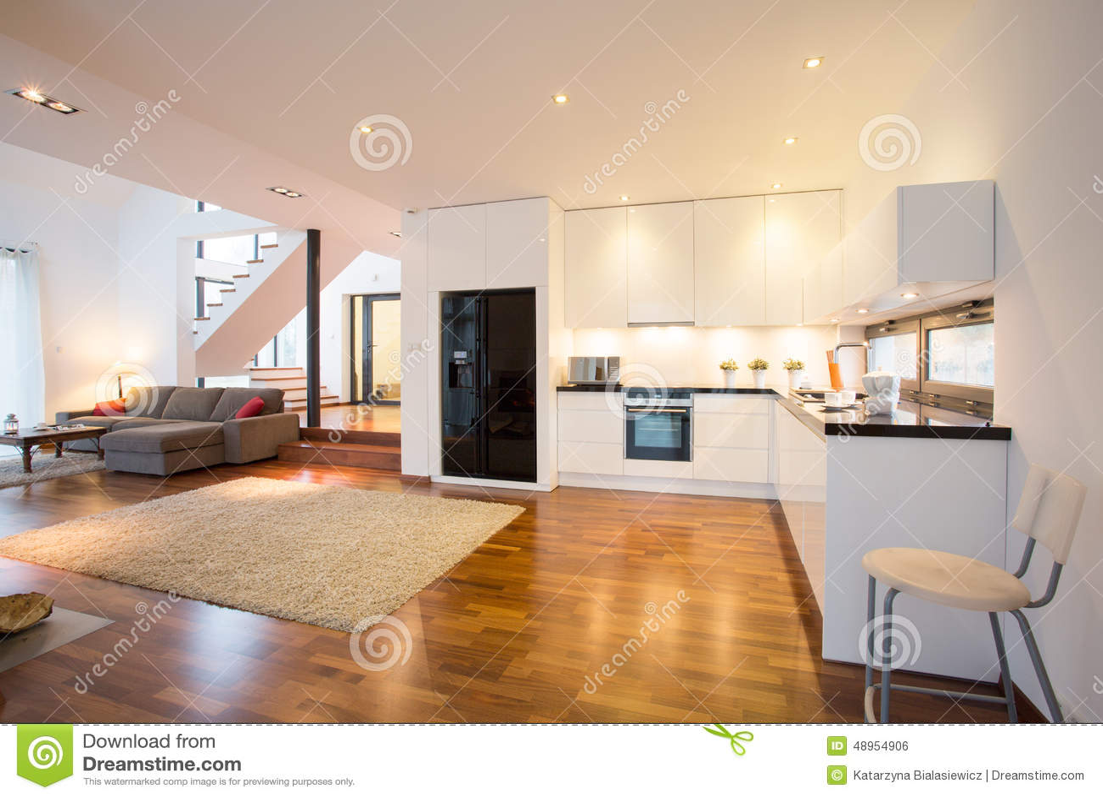 open keuken en woonkamer stock foto afbeelding bestaande uit laag 48954906