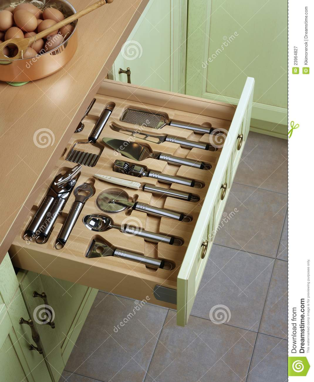 Open Kitchen Drawers Royalty Free Stock Photography Image - Kitchen drawers