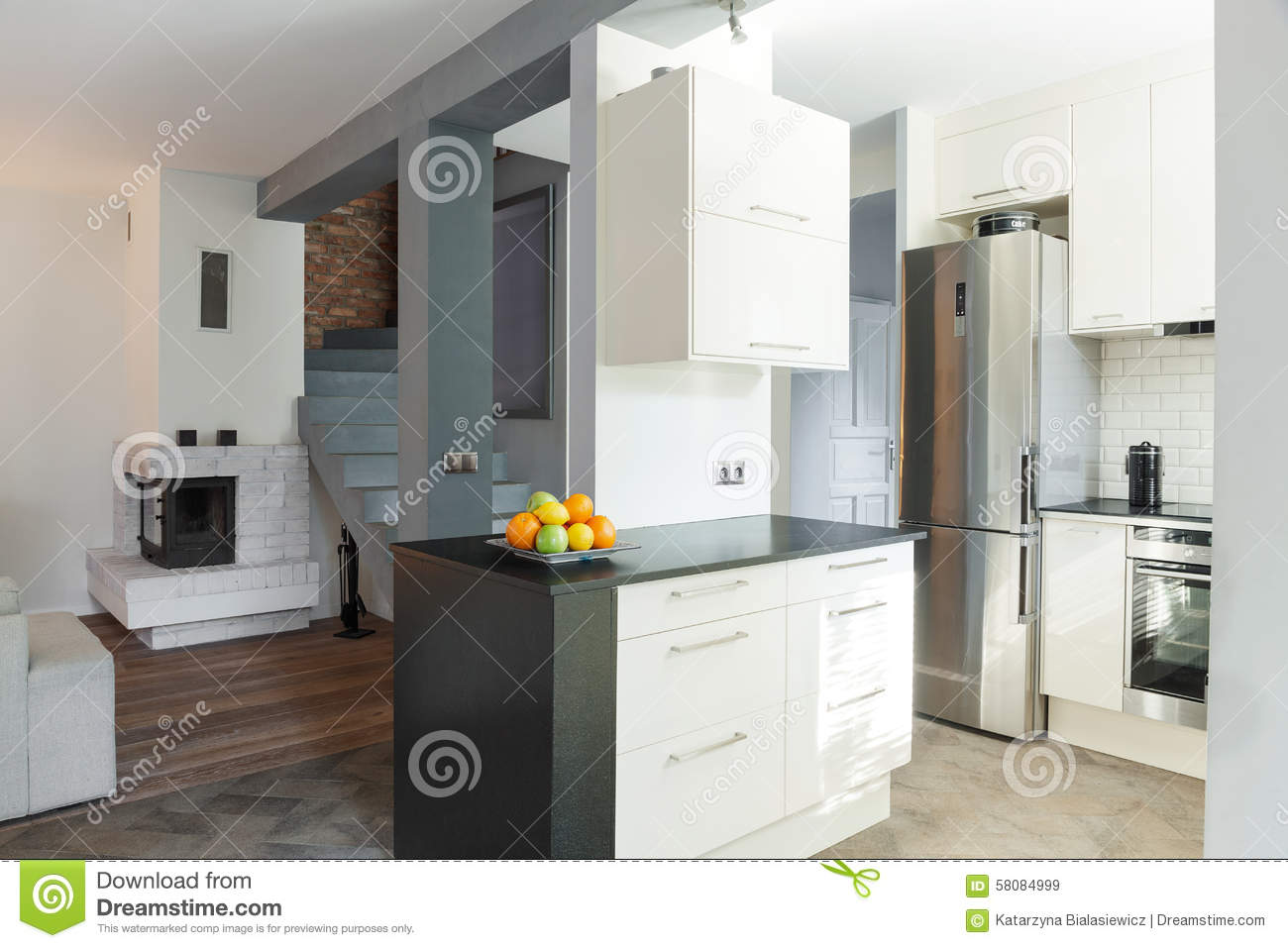 Open Kitchen Open Kitchen And Drawing Room Stock Photo Image 58084999