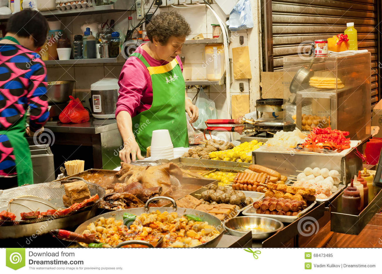 open kitchen of oriental fast food restaurant and fresh meals