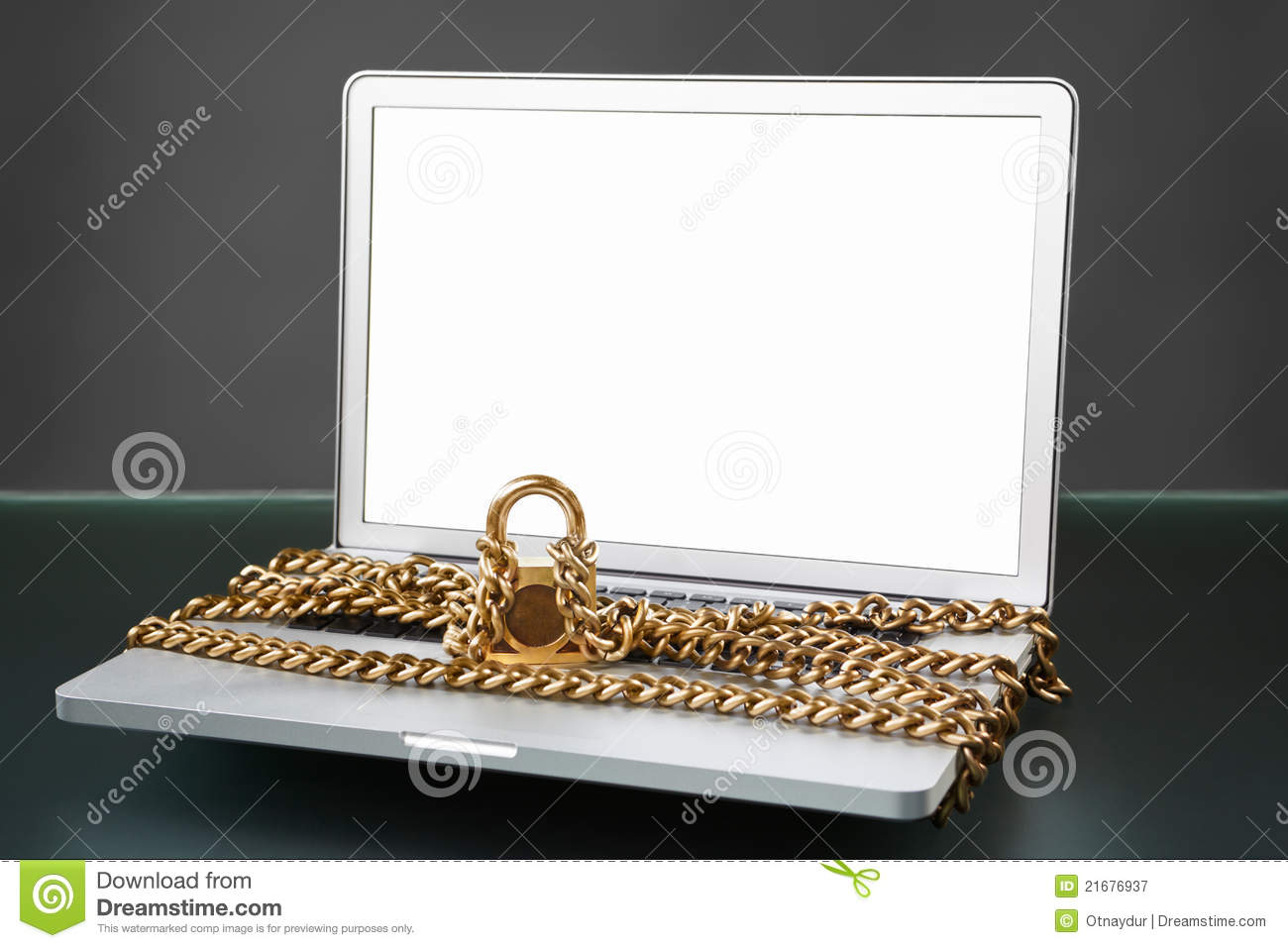 Open laptop with chain and lock stock image image 21676937 - How to open chain lock ...