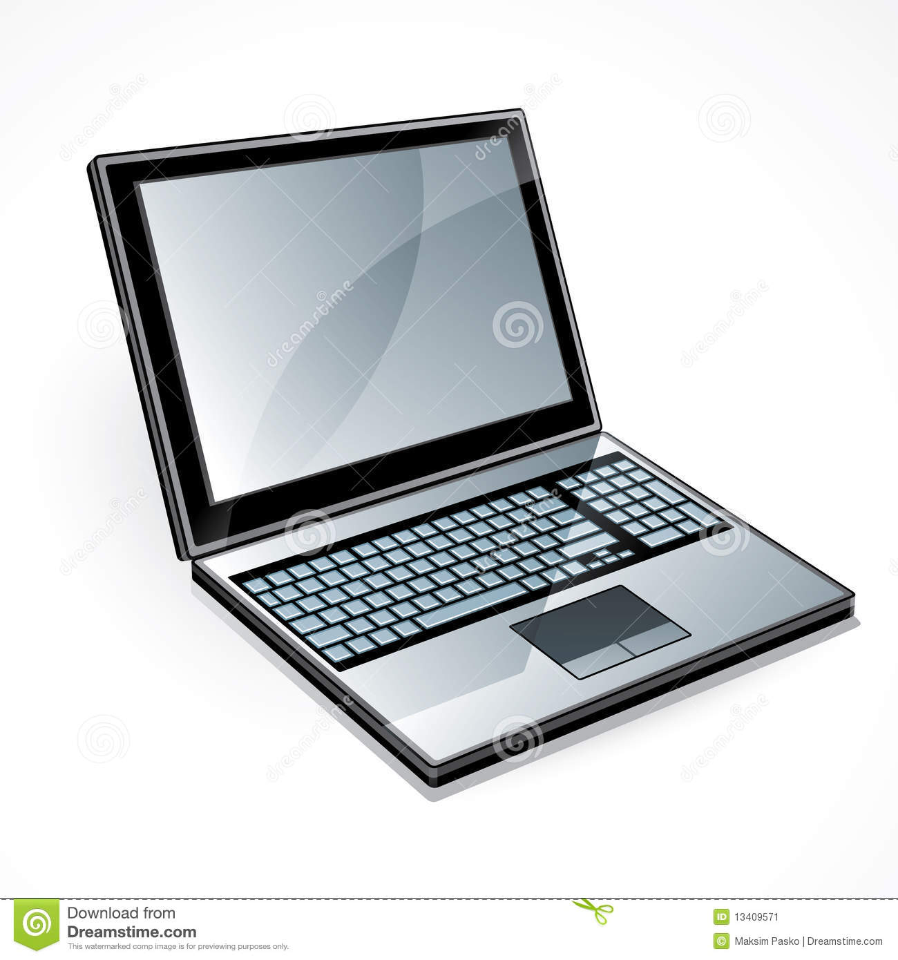 Open laptop computer with blank screen, isolated on white background.