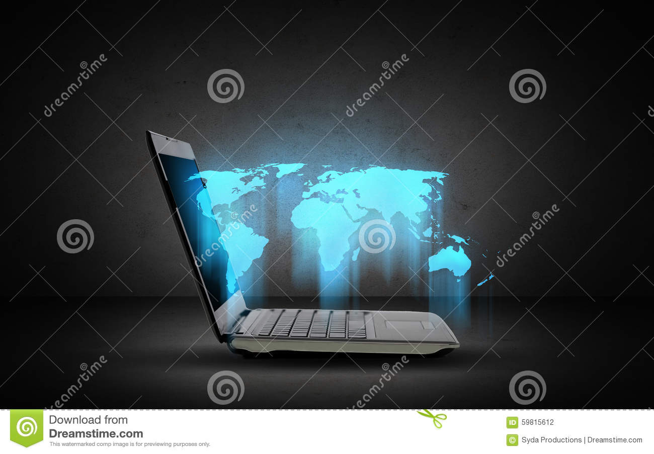 World Map Download For Computer. Open laptop computer with world map Laptop Computer With World Map Stock Illustration