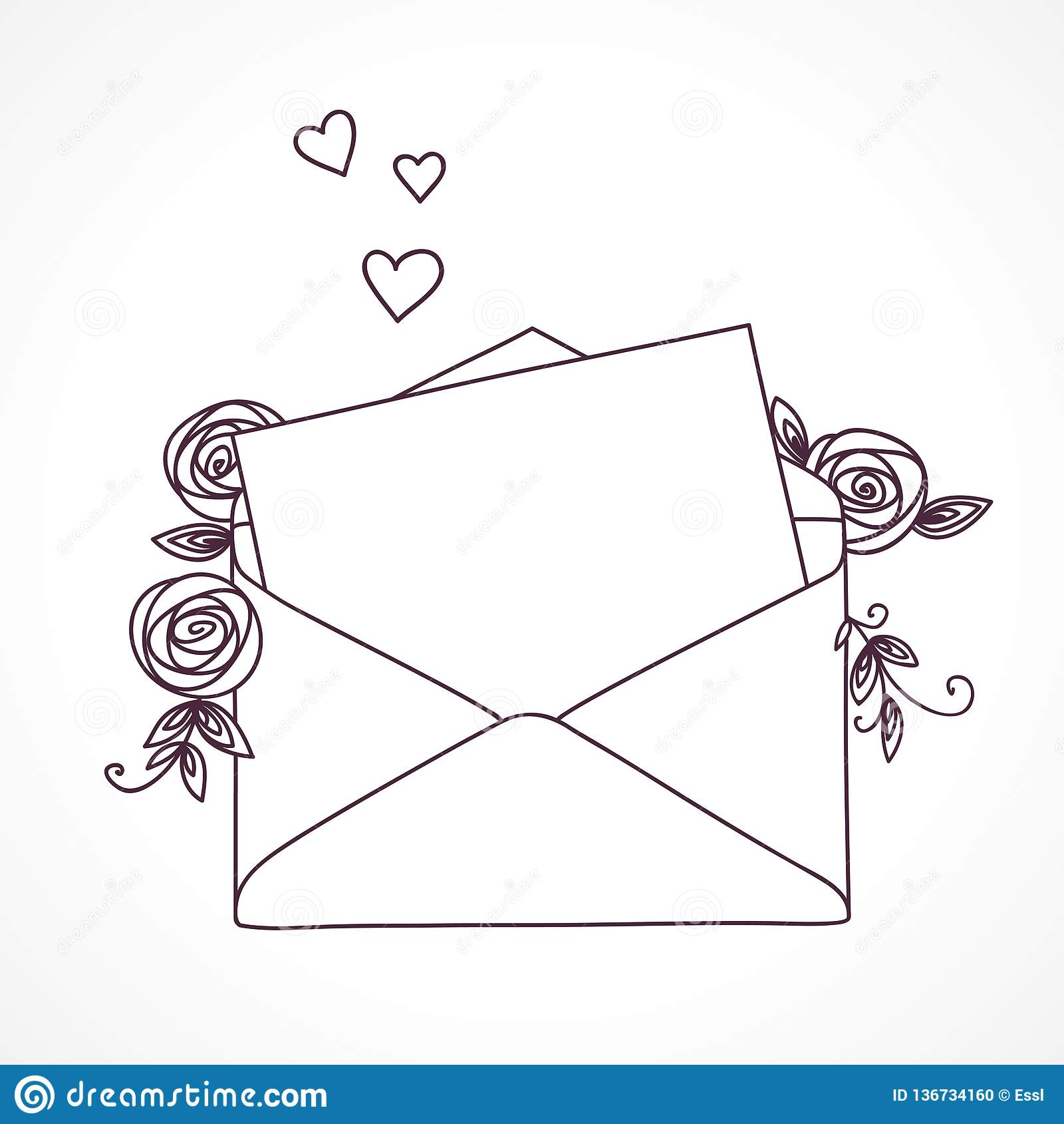 Open Letter With Roses And Hearts  Postal Holiday Outline