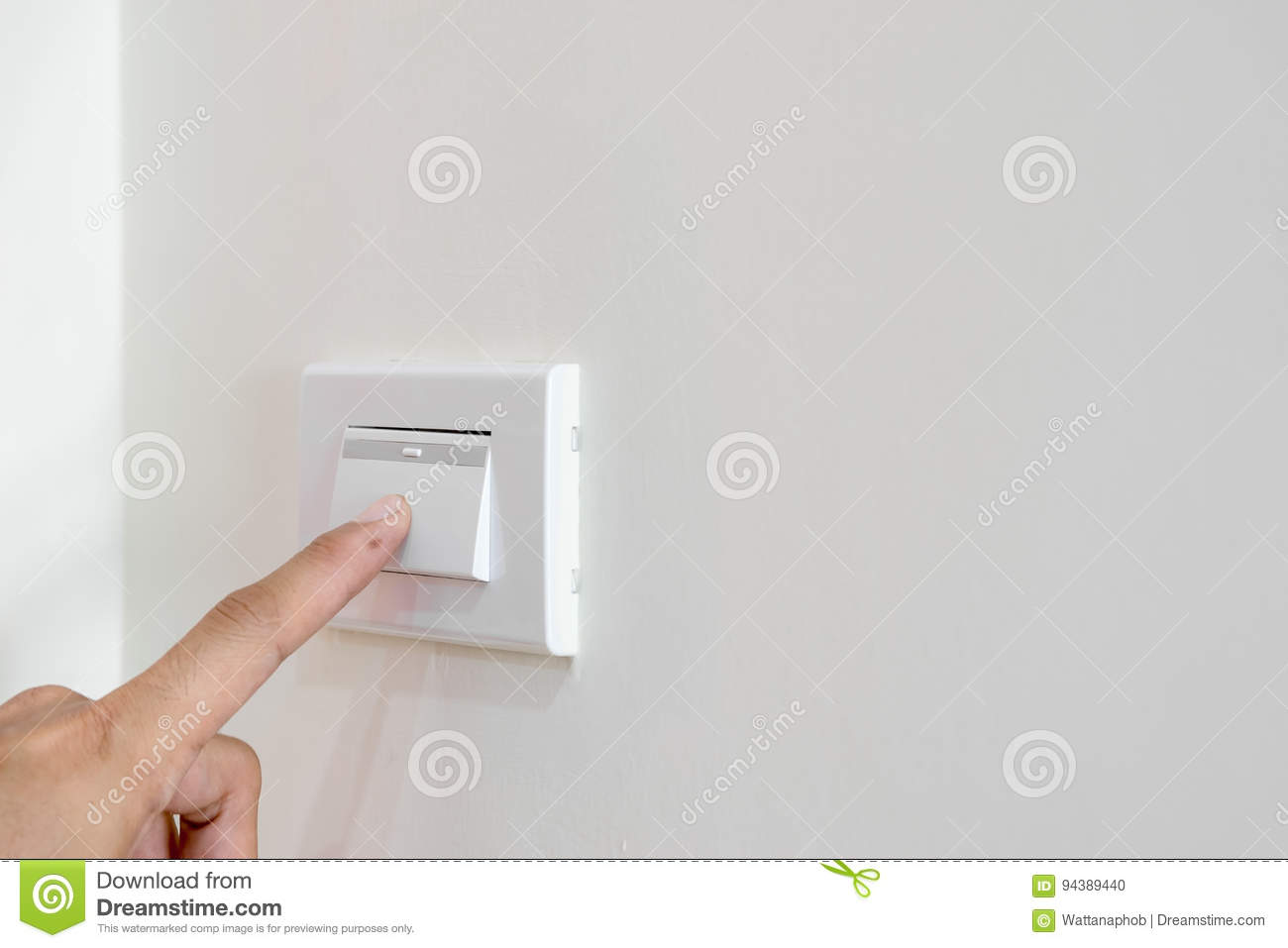 Open The Light Switch On The Wall. Stock Photo - Image of ...