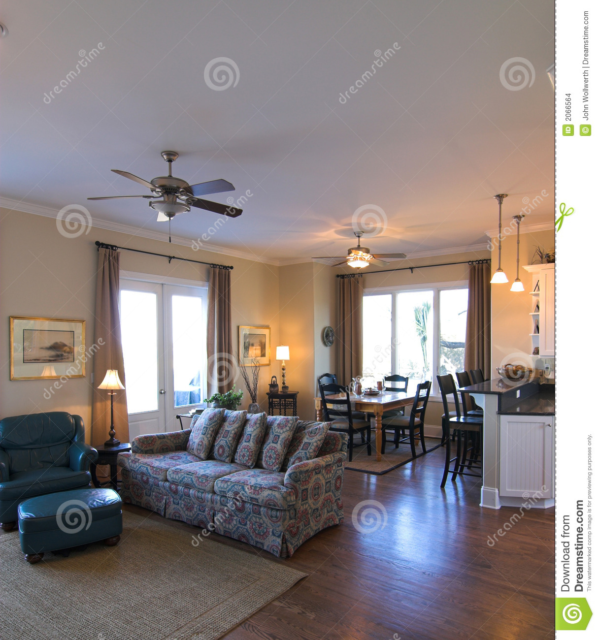 Living And Dining Room: Open Living Room And Dining Room Stock Photo
