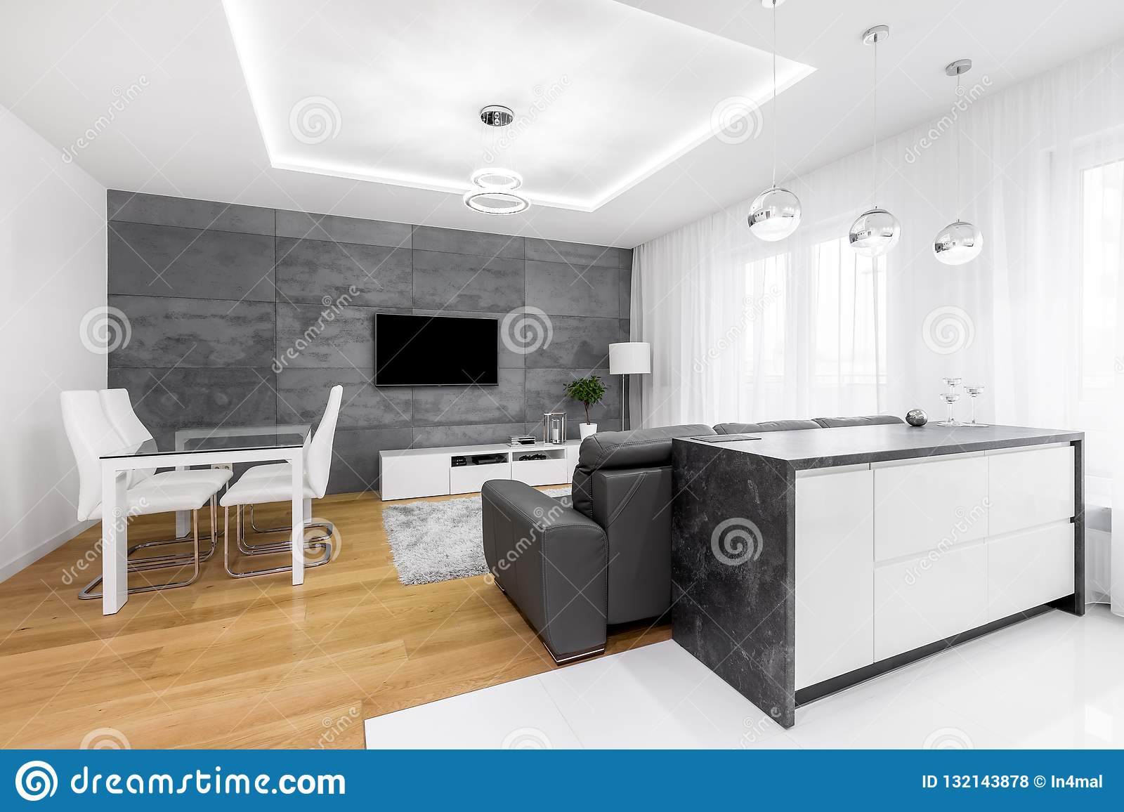 Open Living Room With Kitchen Stock Photo Image Of Furniture Contemporary 132143878