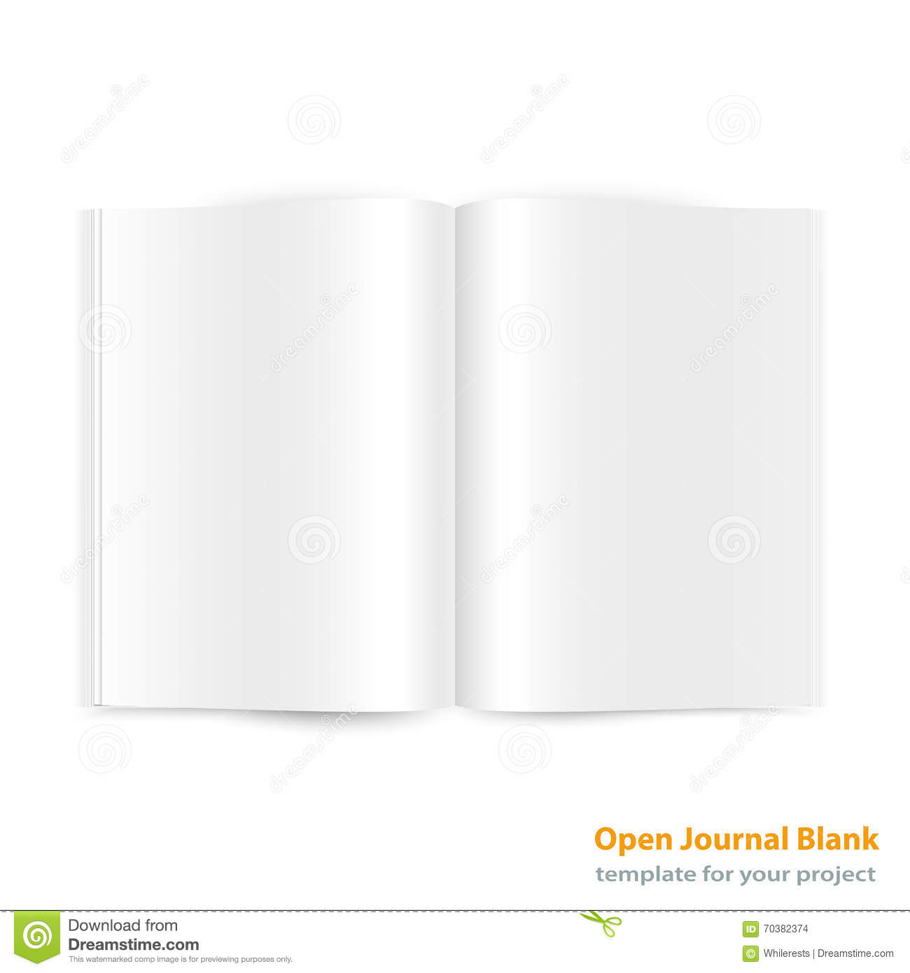 Open Magazine Double-page Spread With Blank Pages. Stock ...