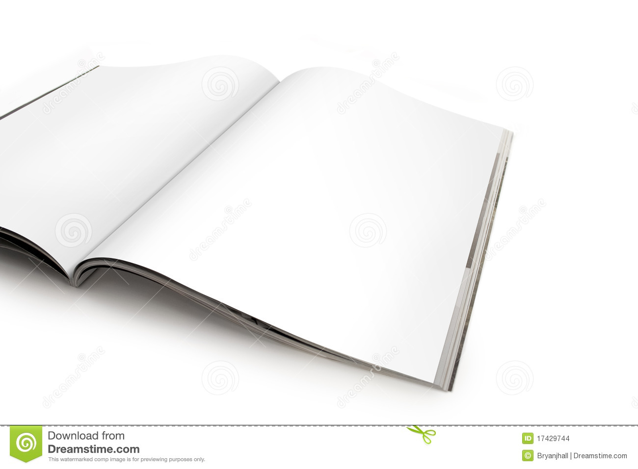 Open Magazine Spread With Blank Pages Stock Photo - Image ...