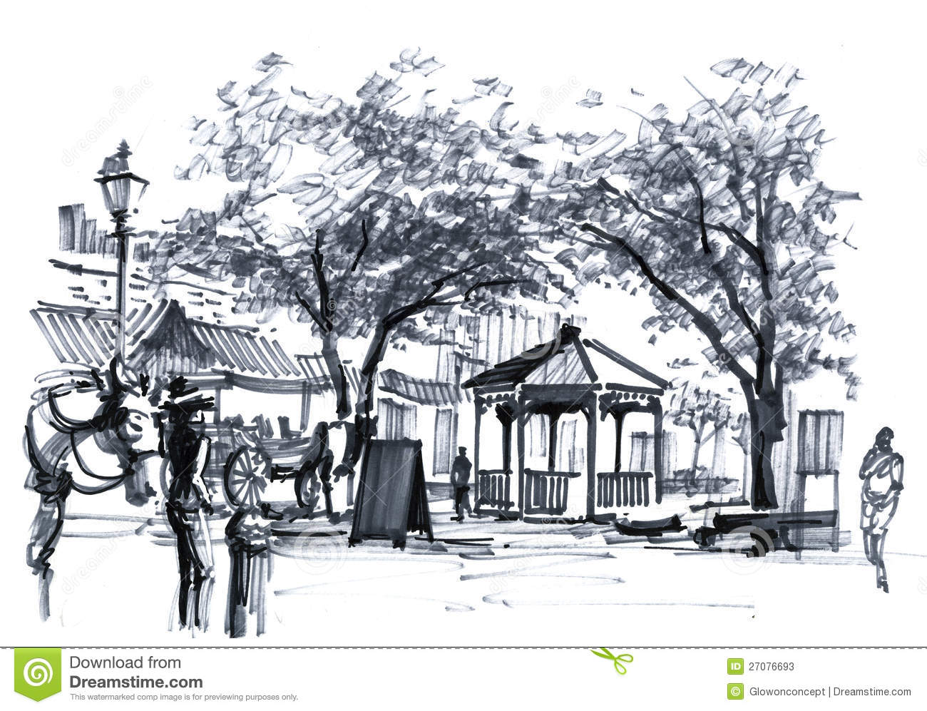 Open Market In Southern Usa Marker Drawing Stock