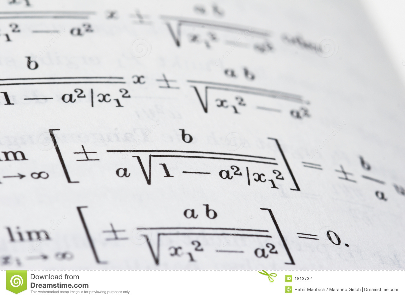 Open Math Book Stock Photography Image 1813732