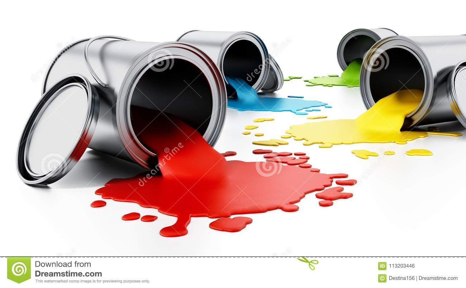 Open metal paint cans with spilled paints. 3D illustration
