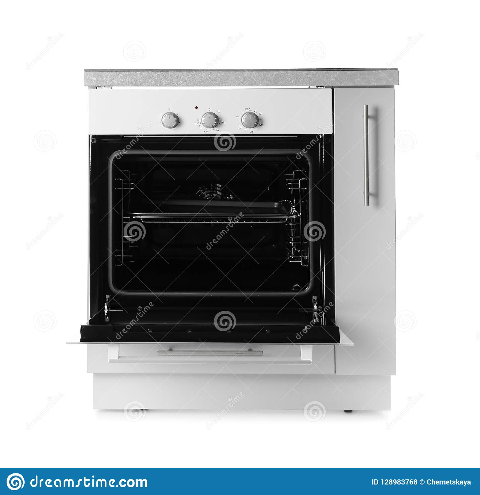 Open Modern Electric Oven On White Background. Stock Photo ...
