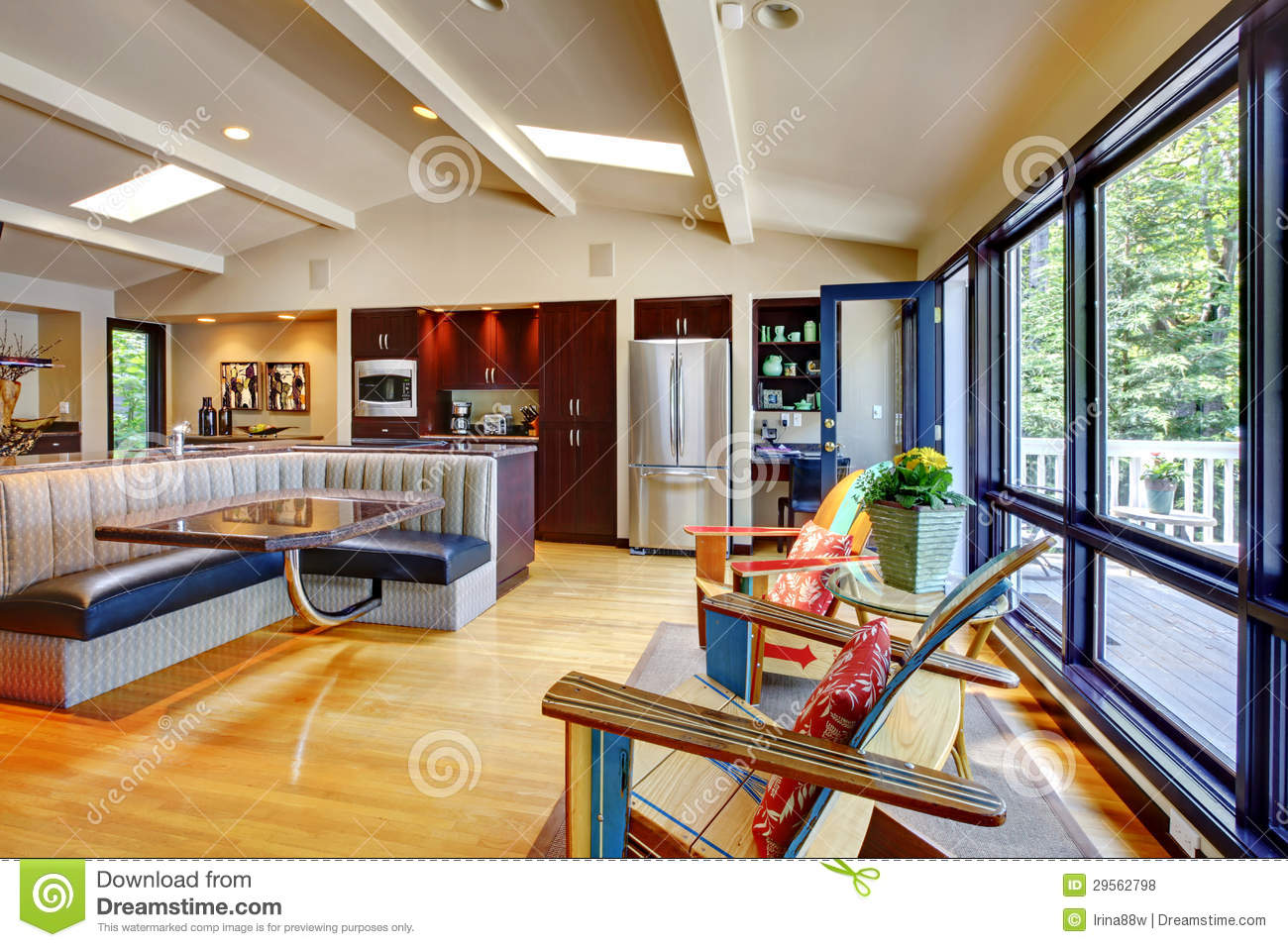 open modern luxury home interior living room and kitchen royalty free