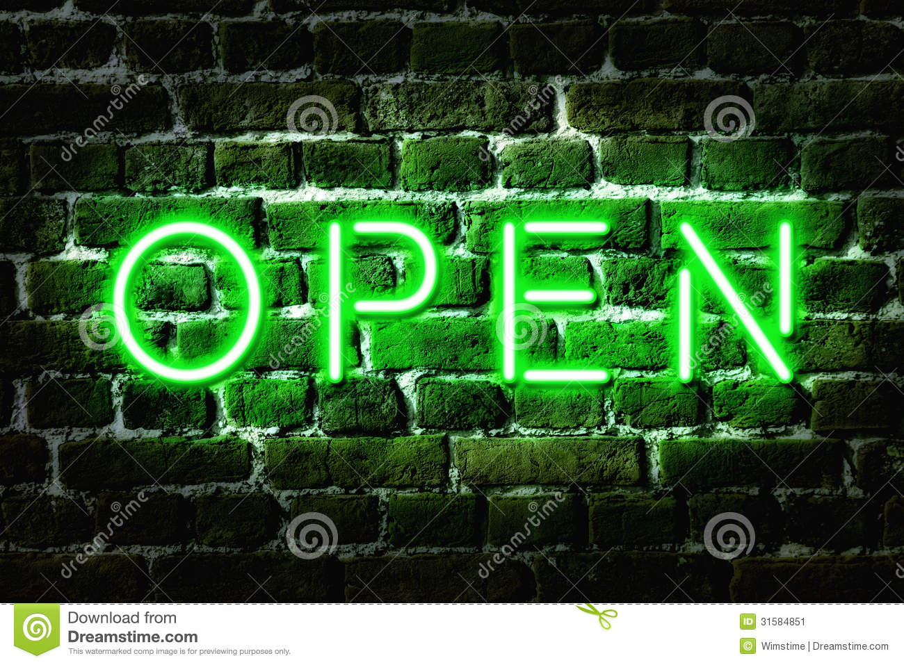 Open Neon Sign Stock Image - Image: 31584851