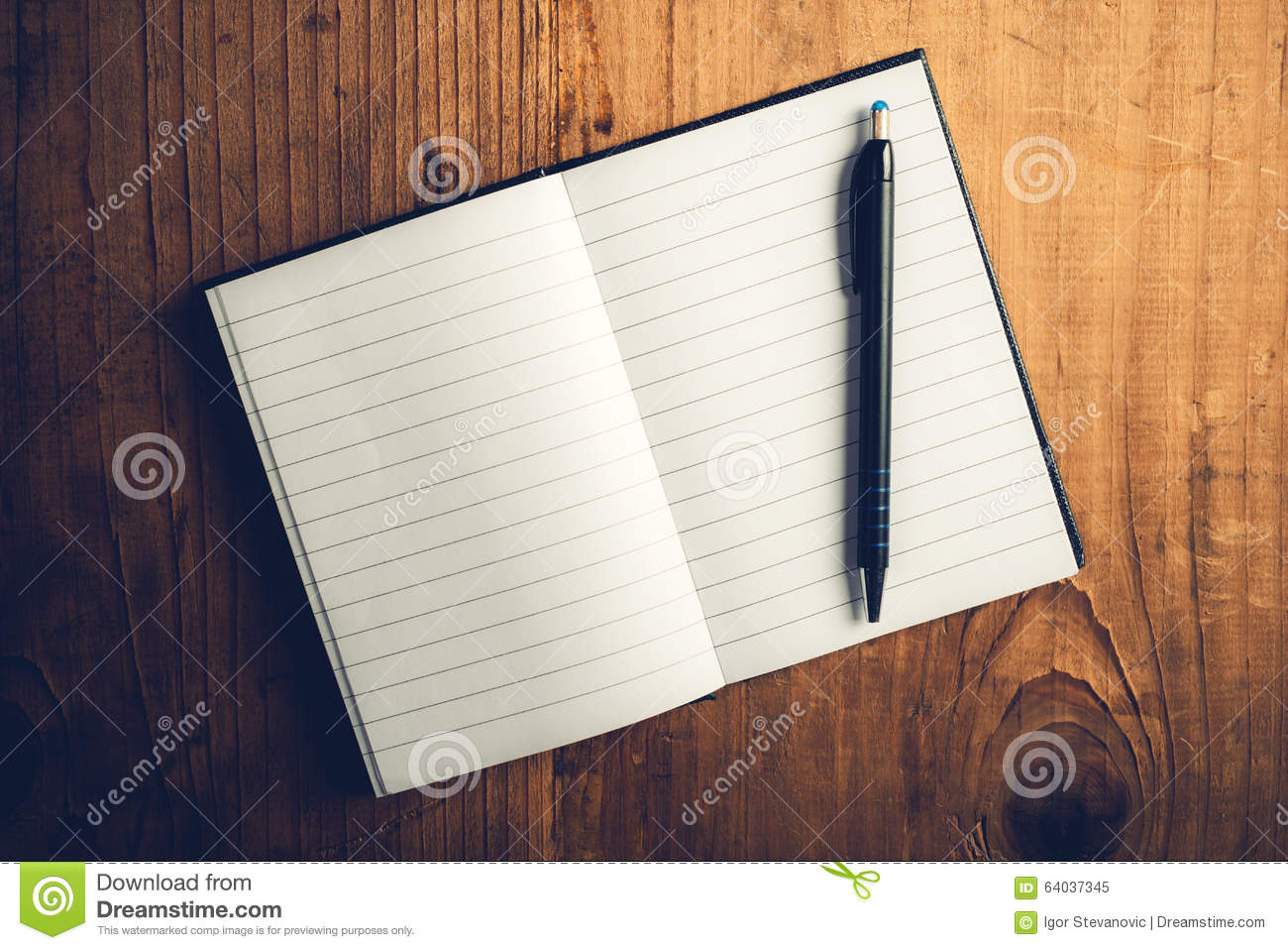 open notebook with blank pages and pencil stock photo