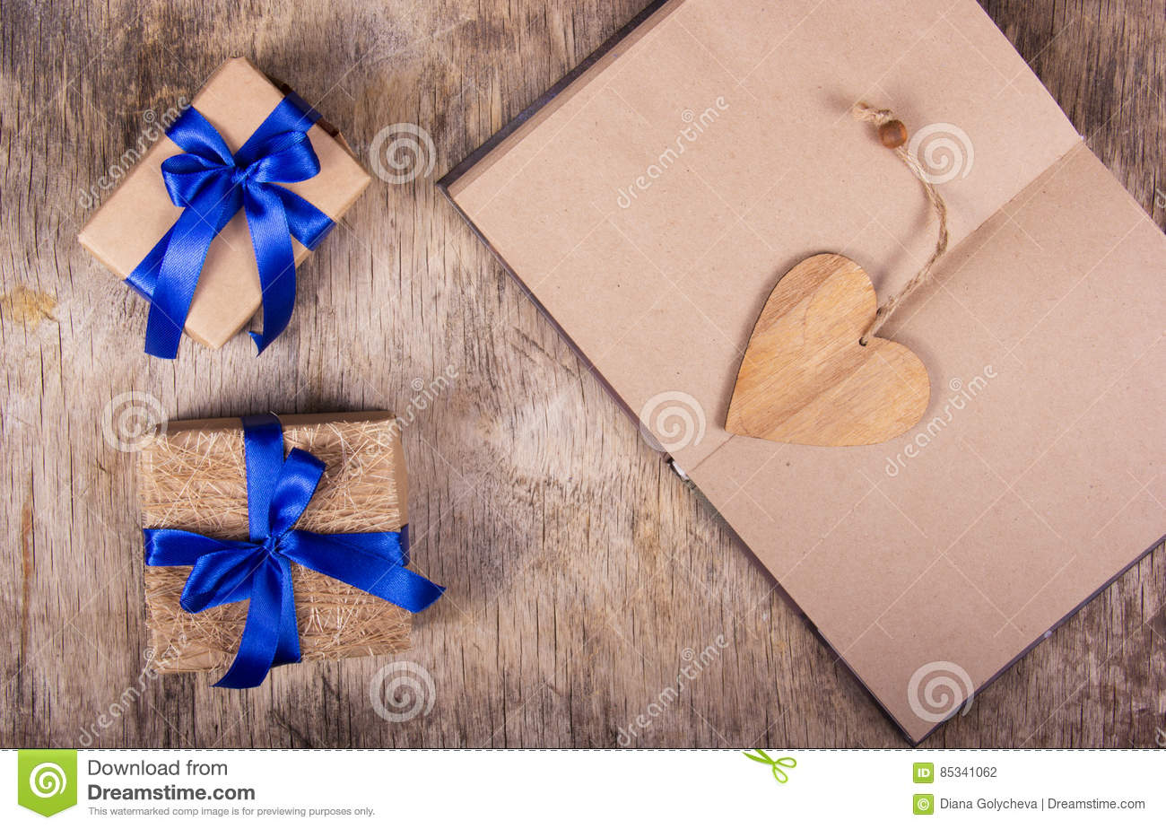 Open Notebook With Blank Pages Valentine Made Of Wood And Boxes