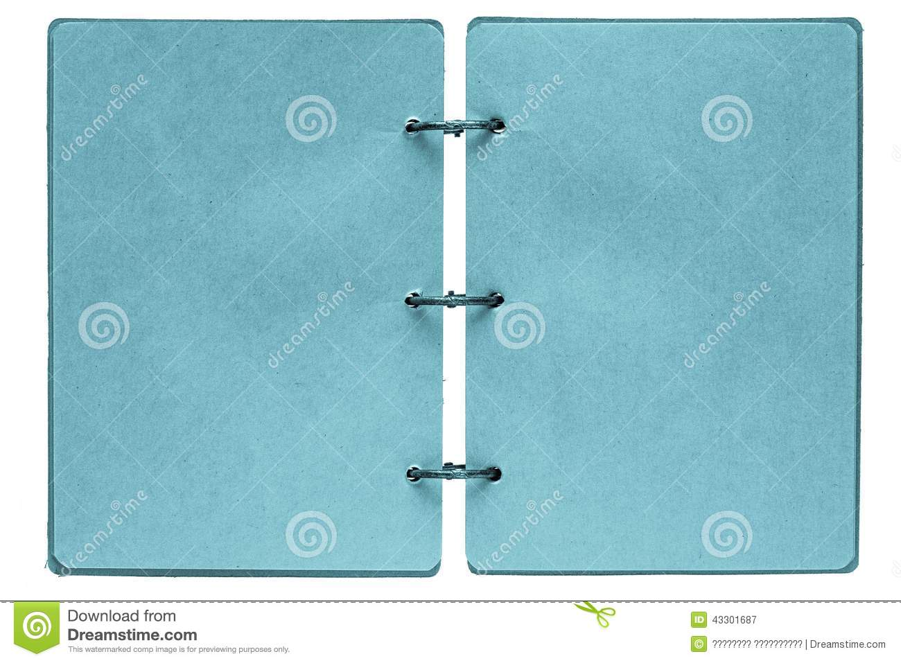 open notebook with pages of blue color stock photo