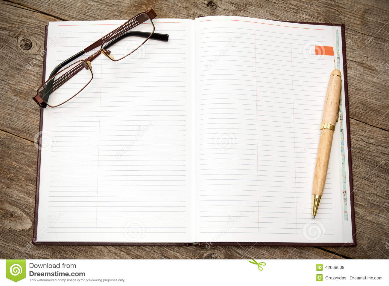 Notebook And Pen Sketch Stock Vector Art More Images Of: Open Notebook With Pen And Glasses Stock Photo