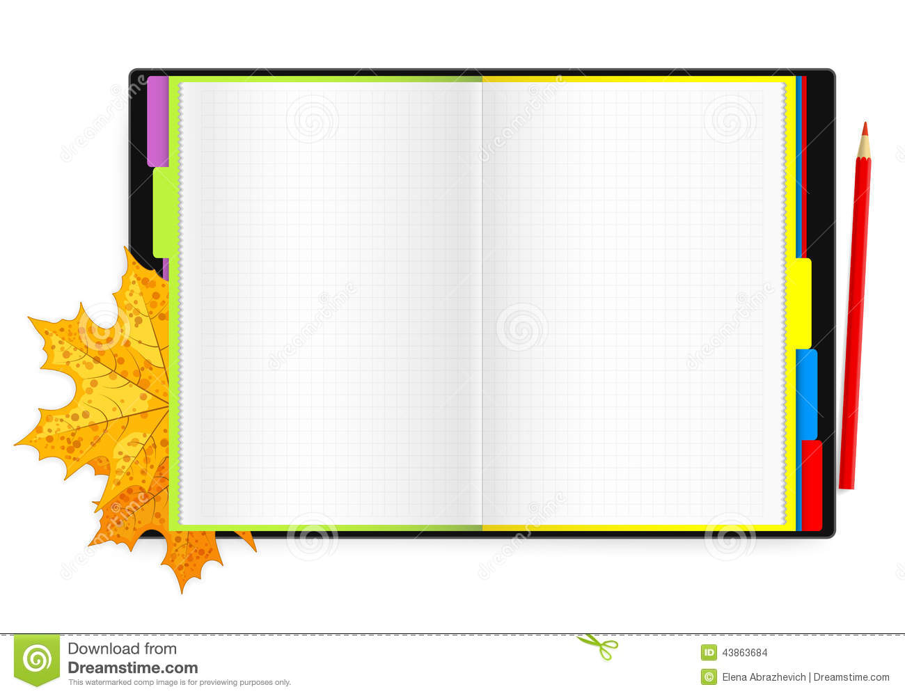 Open notebook pencil and maple leaves stock illustration for Notebook with colored pages