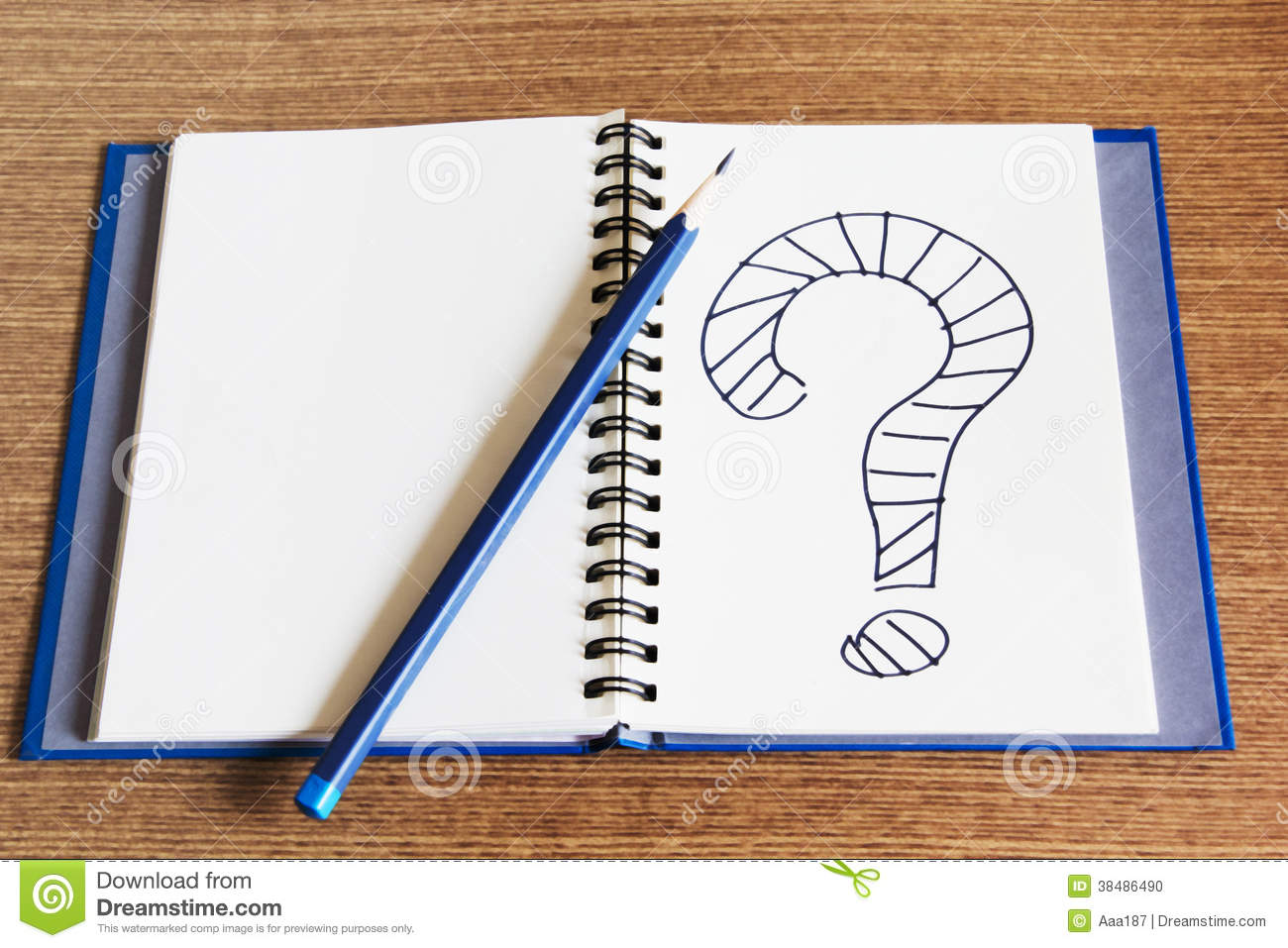 Open Notebook Writing Question Mark On It Stock Photo ...