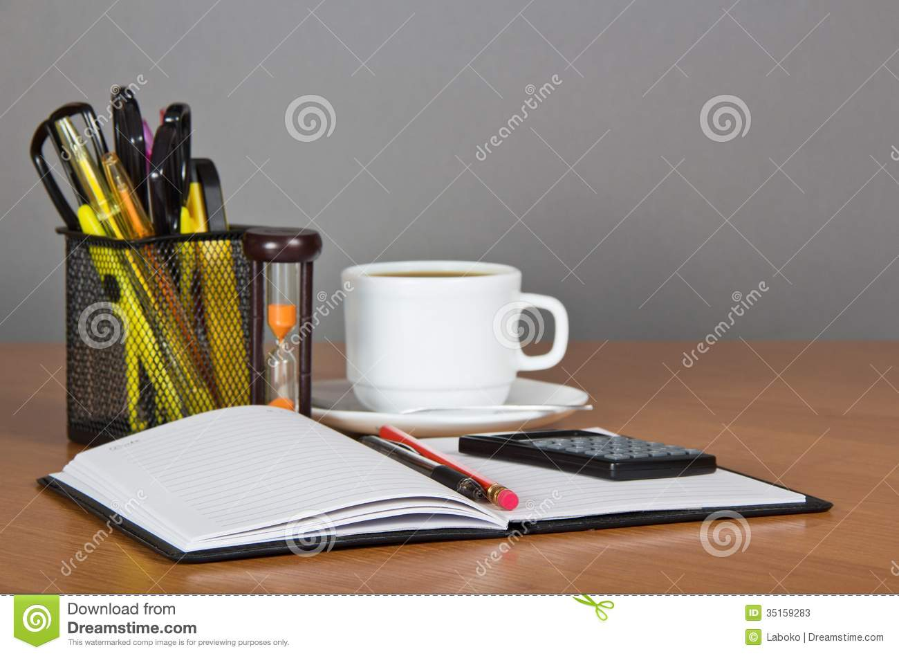 Open Notepad Office Accessories In Support The Stock Photos