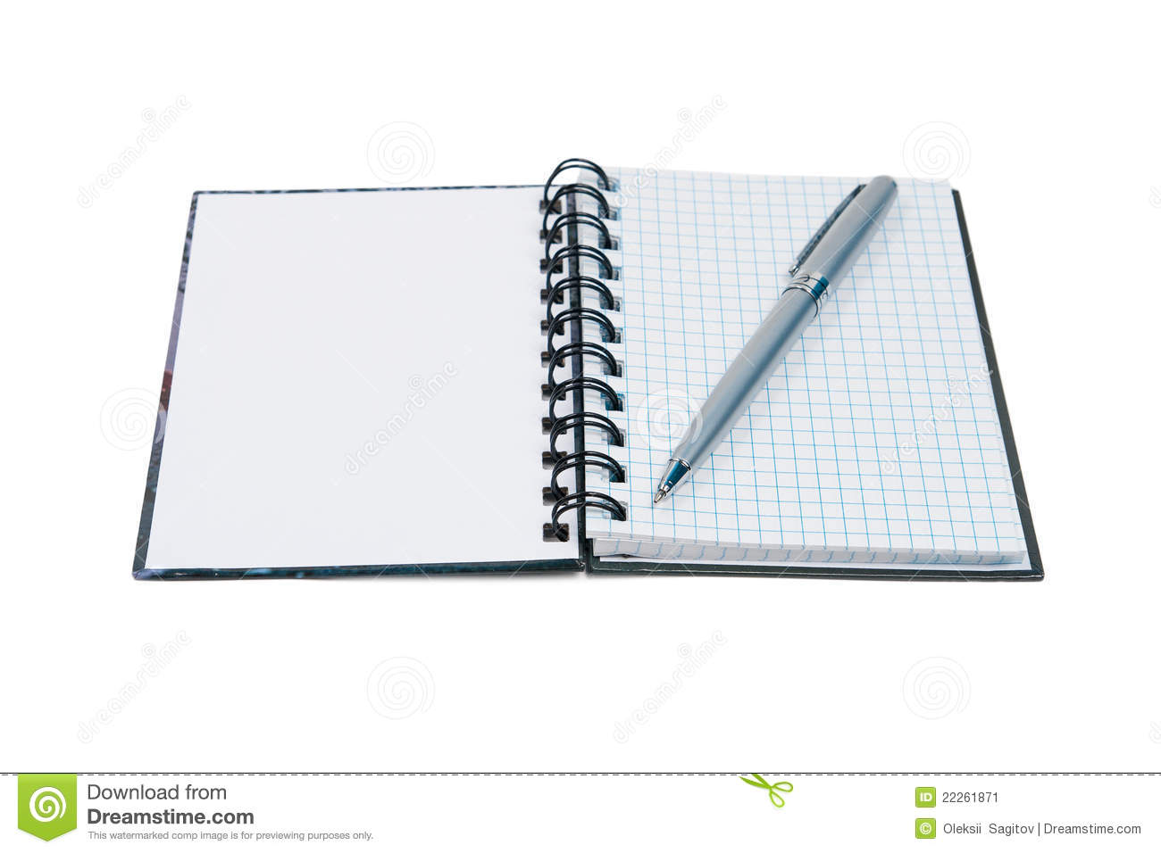 Open notepad and pen. Isolated on white background.