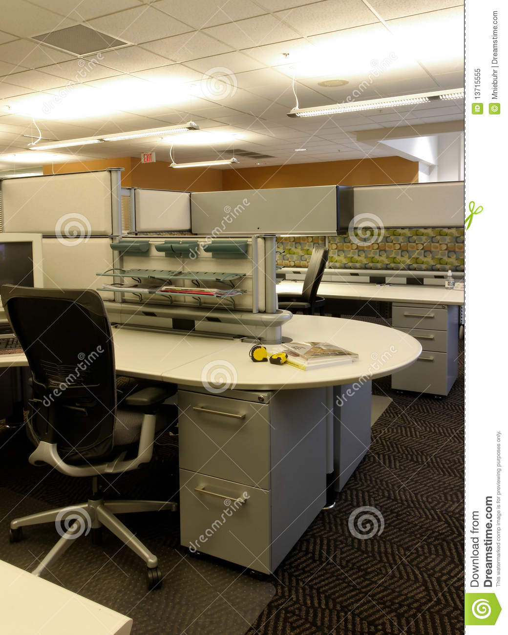 Open Office Cubical Workspace Stock Image Image 13715555