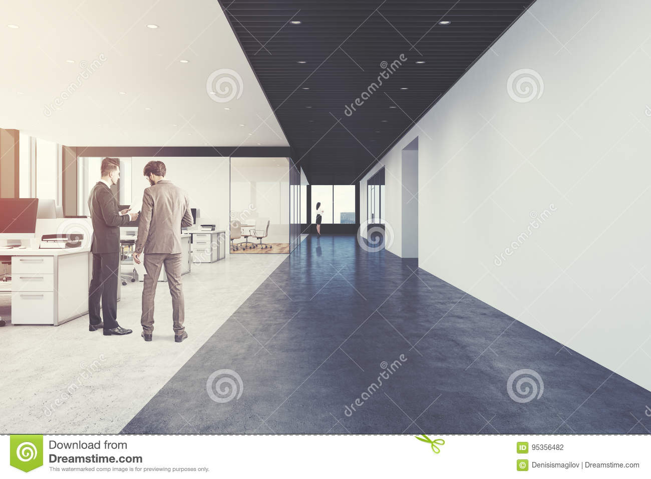 Open Office, Loft, Front View, People Stock Photo - Image of ...