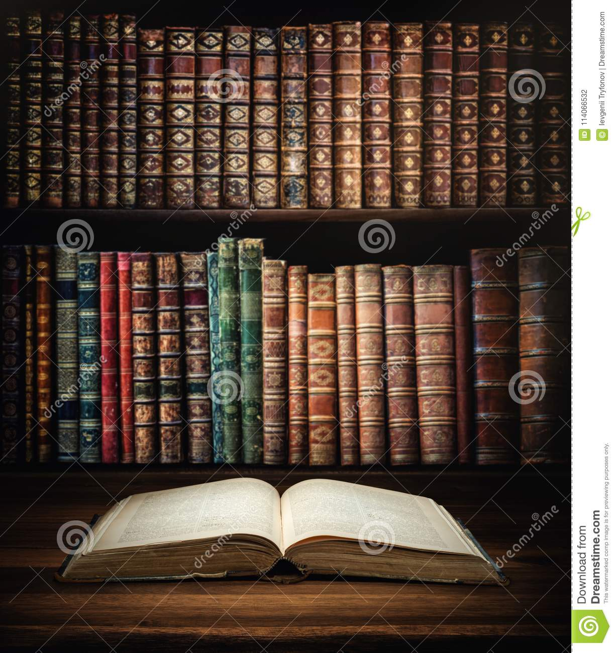 Open Old Book On A Bookshelf Background Download Preview