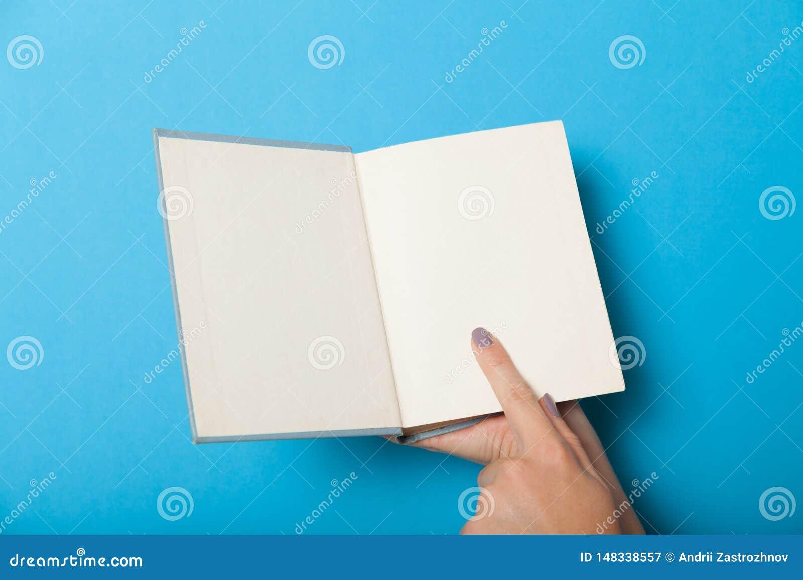 Open Old Book Mockup Brochure In Hands Stock Image Image Of