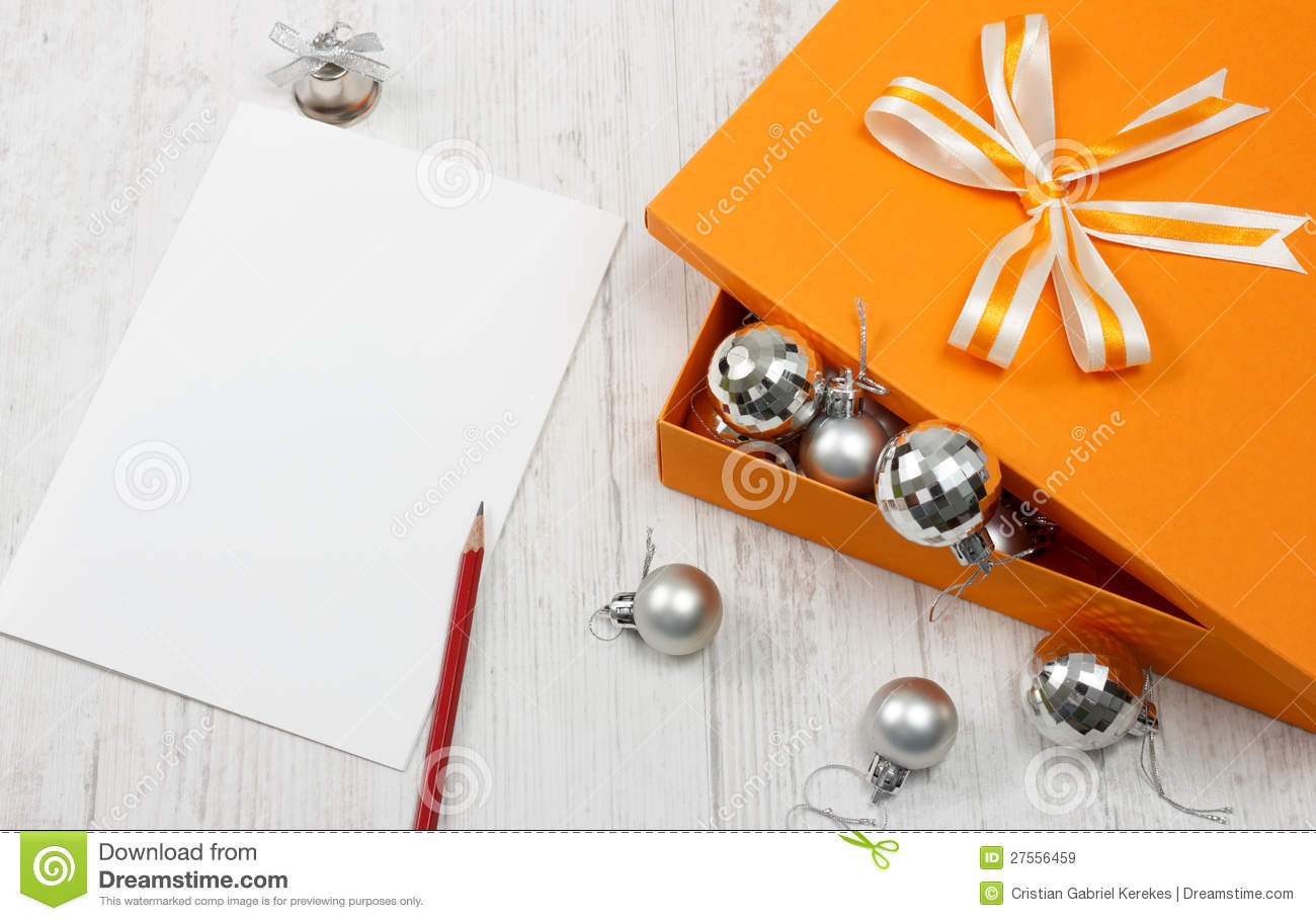 Open Orange Gift Box With Silver Christmas Baubles Stock Image ...