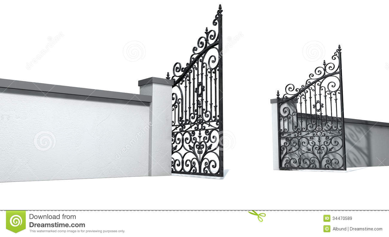 Open Ornate Gates And Wall Stock Illustration